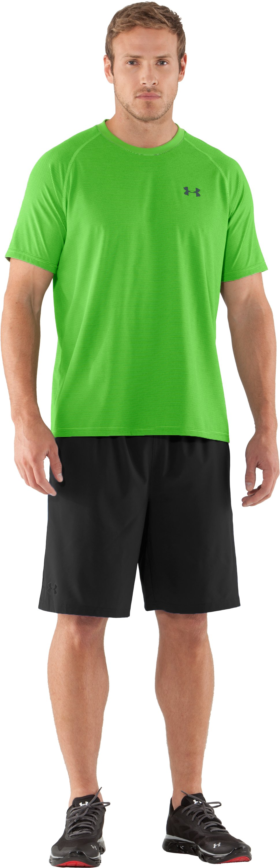 Men's UA Tech™ Microstripe T-Shirt, PARROT GREEN, zoomed image