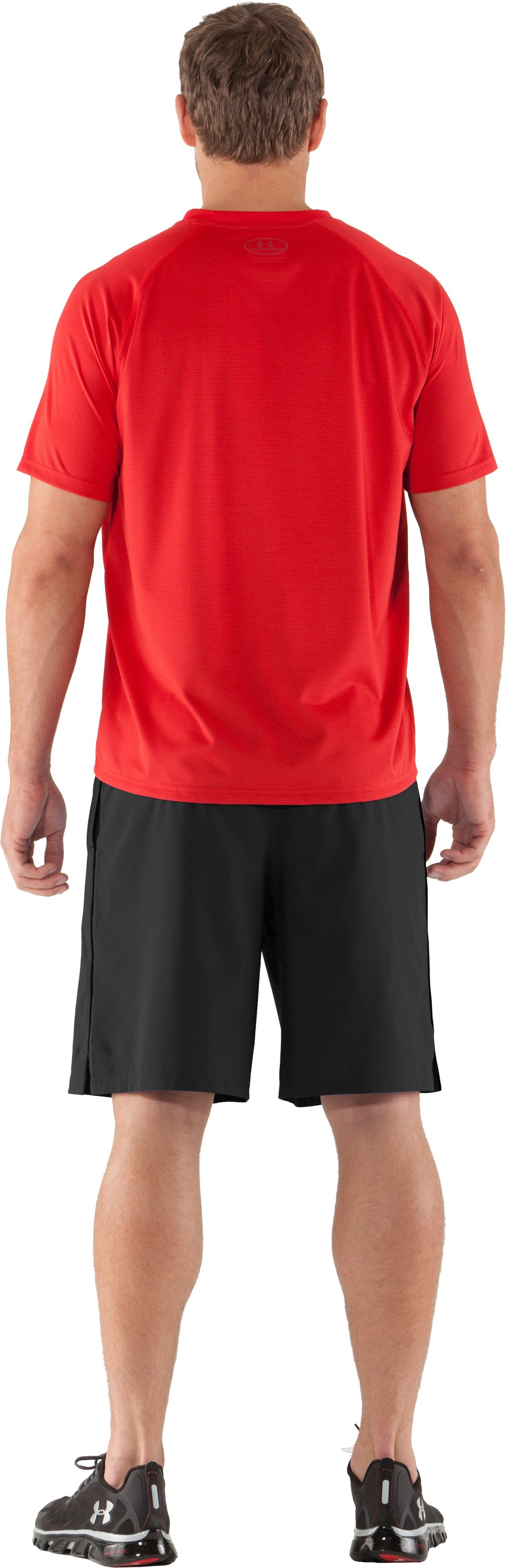 Men's UA Tech™ Microstripe T-Shirt, Red, Back
