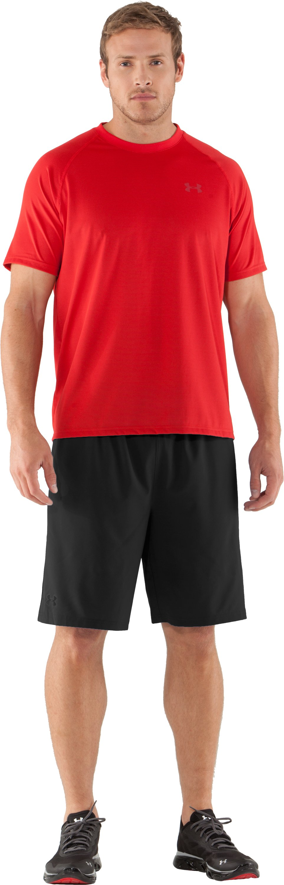 Men's UA Tech™ Microstripe T-Shirt, Red, zoomed image