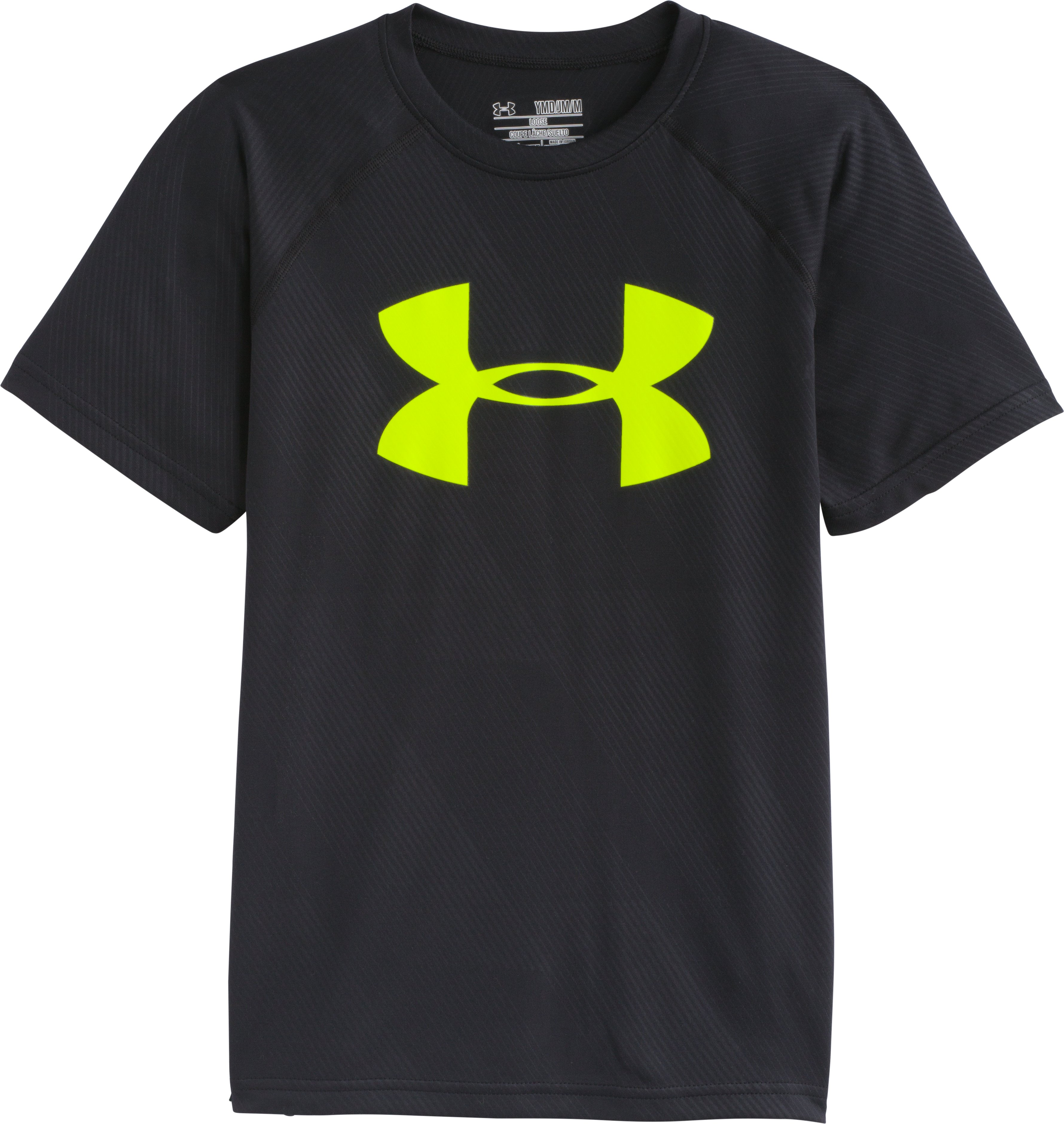 Boys' UA Big Logo Embossed T-Shirt, Black , Laydown