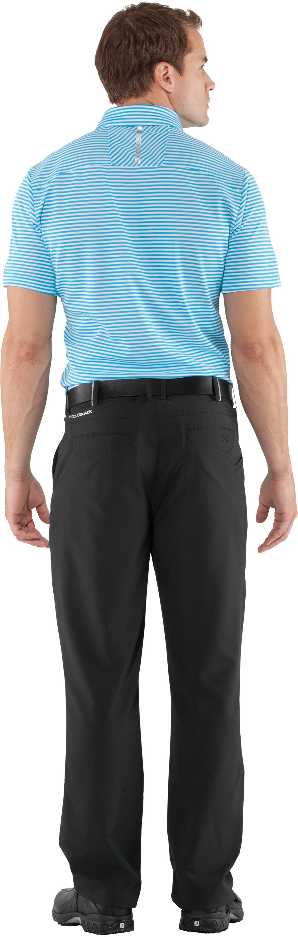 Men's coldblack® Optic Stripe Polo, Cortez, Back