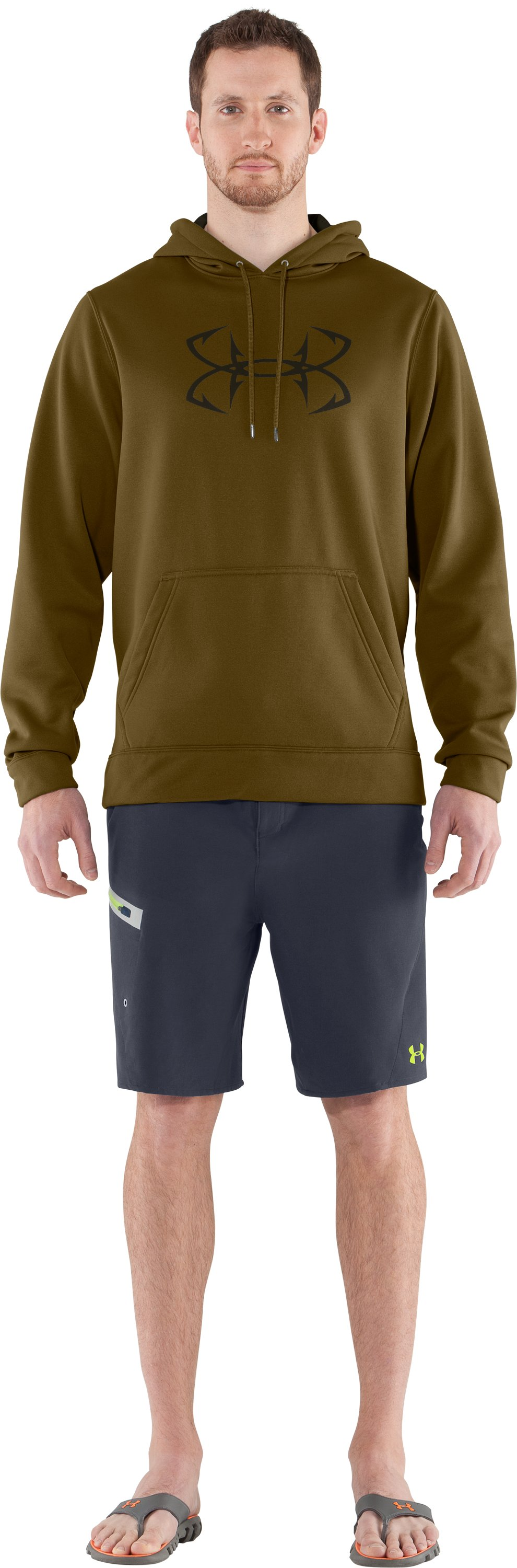 Men's UA Storm Fish Hook Hoodie, Drab, Front