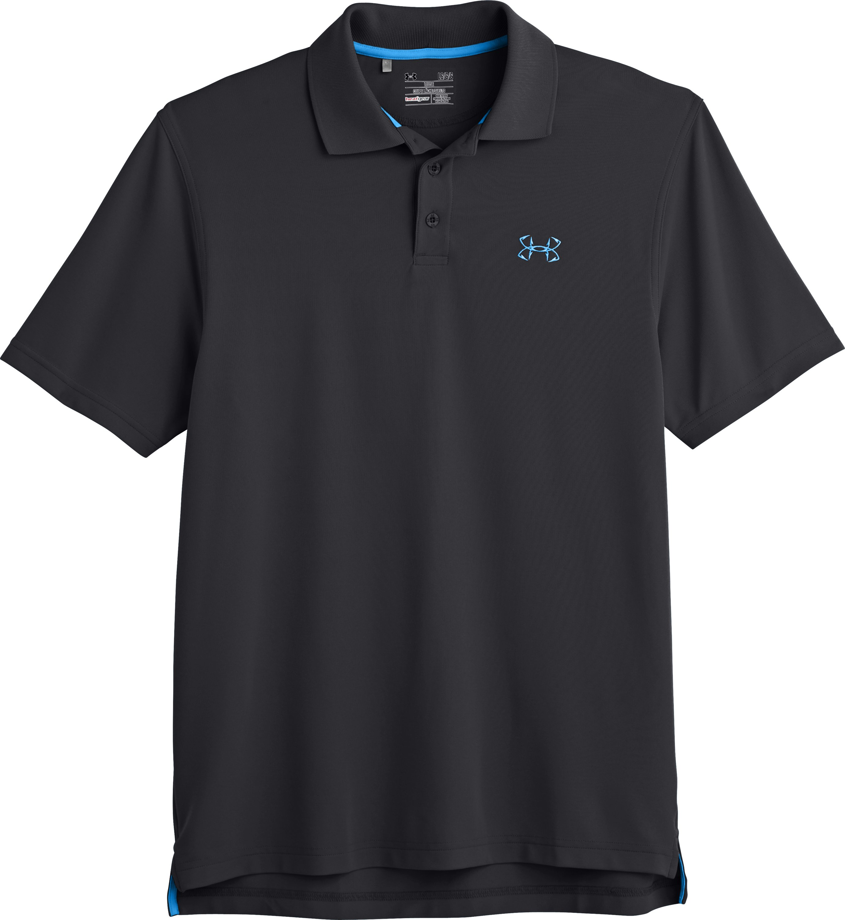 Men's UA Performance Fish Hook Polo, Black , Laydown