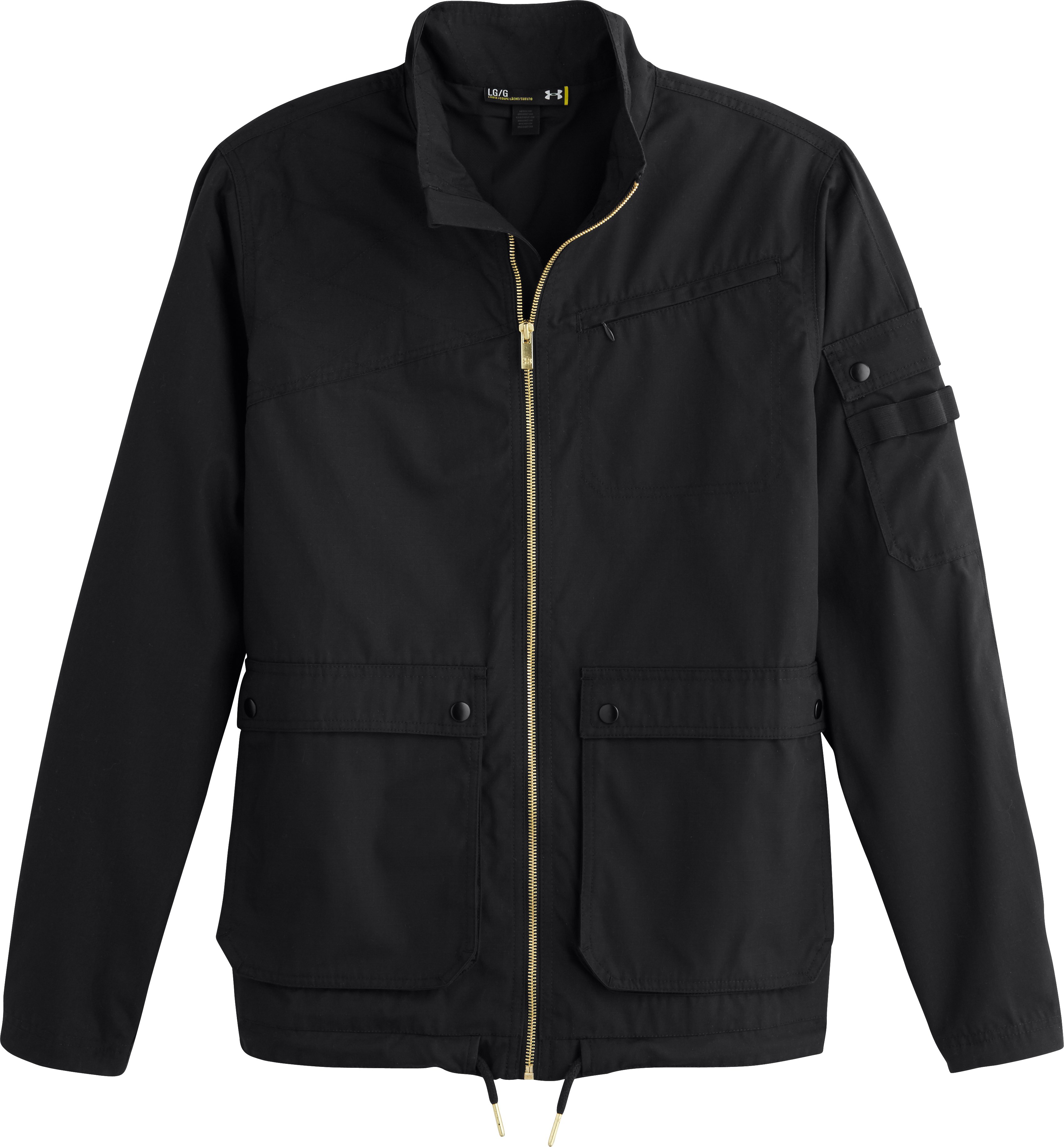 Men's UA Ripstop Bomber Jacket, Black , Laydown