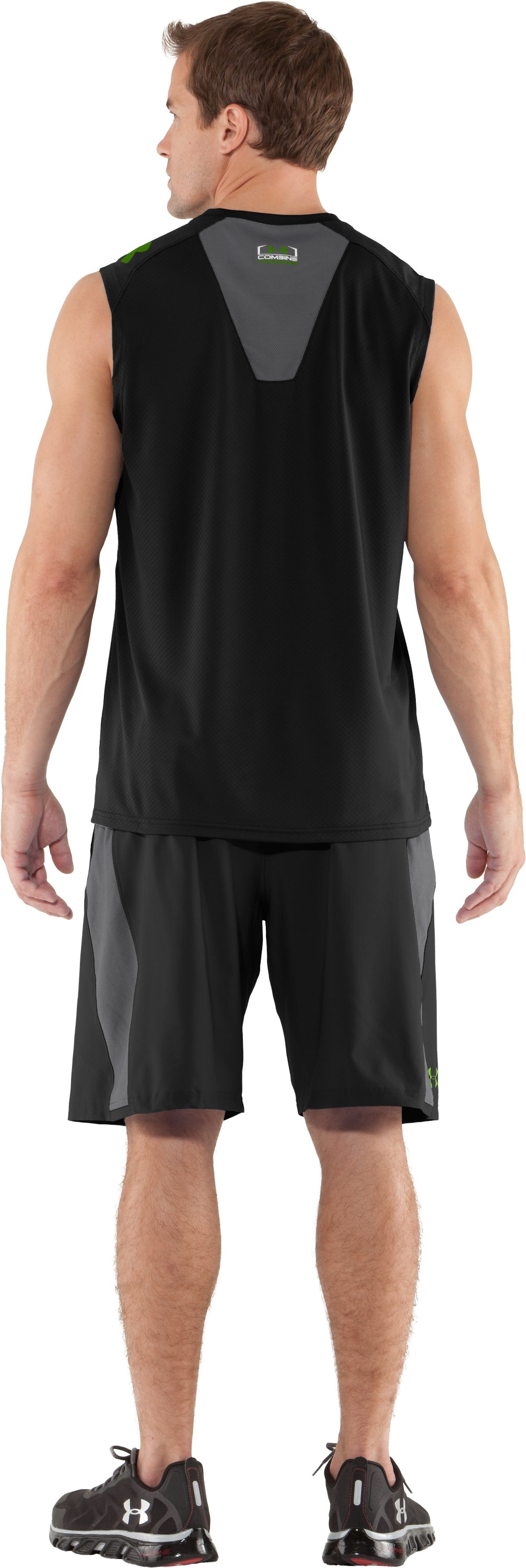 Men's UA Combine® Training Velocity Sleeveless T-Shirt, Black , Back