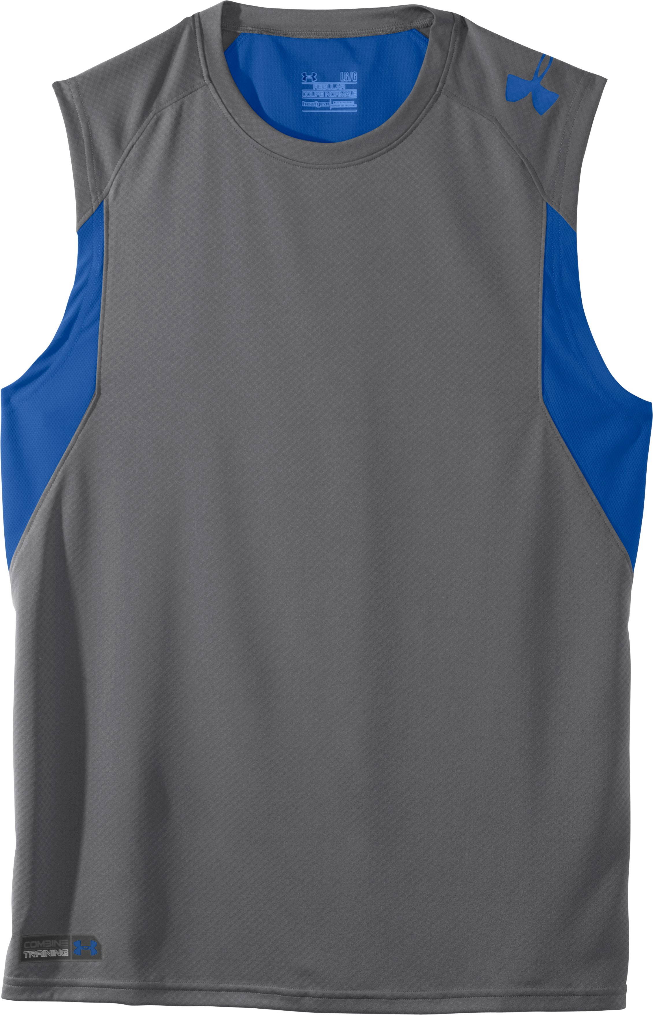 Men's UA Combine® Training Velocity Sleeveless T-Shirt, Graphite, Laydown