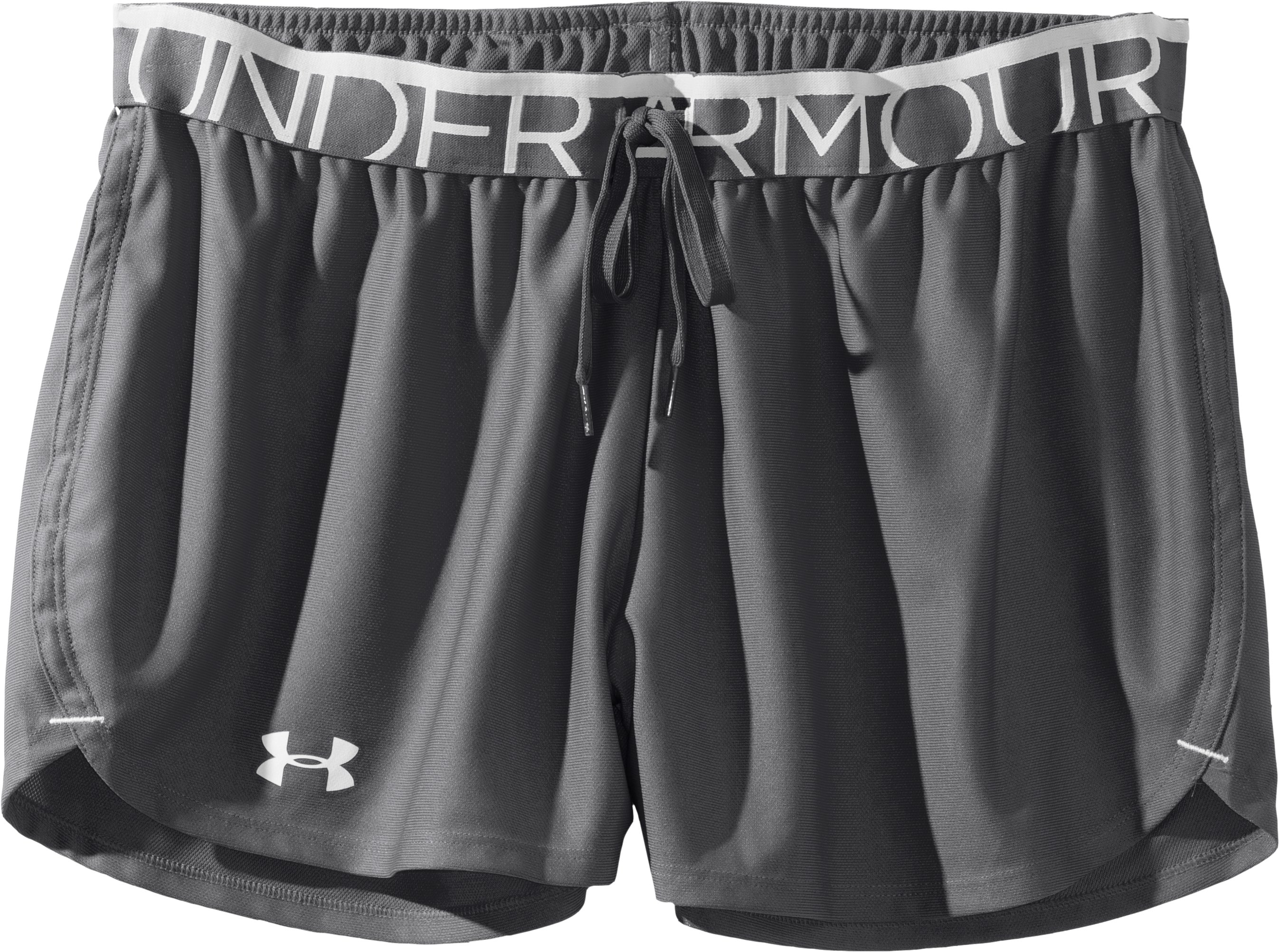 Women's UA Play Up Shorts, Graphite, Laydown