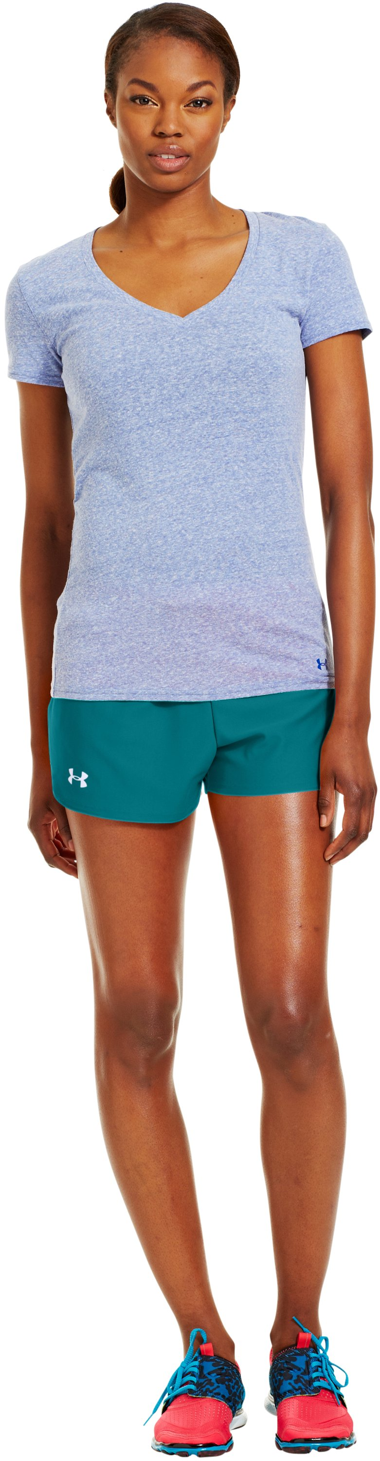 Women's UA Play Up Shorts, CERULEAN, Front