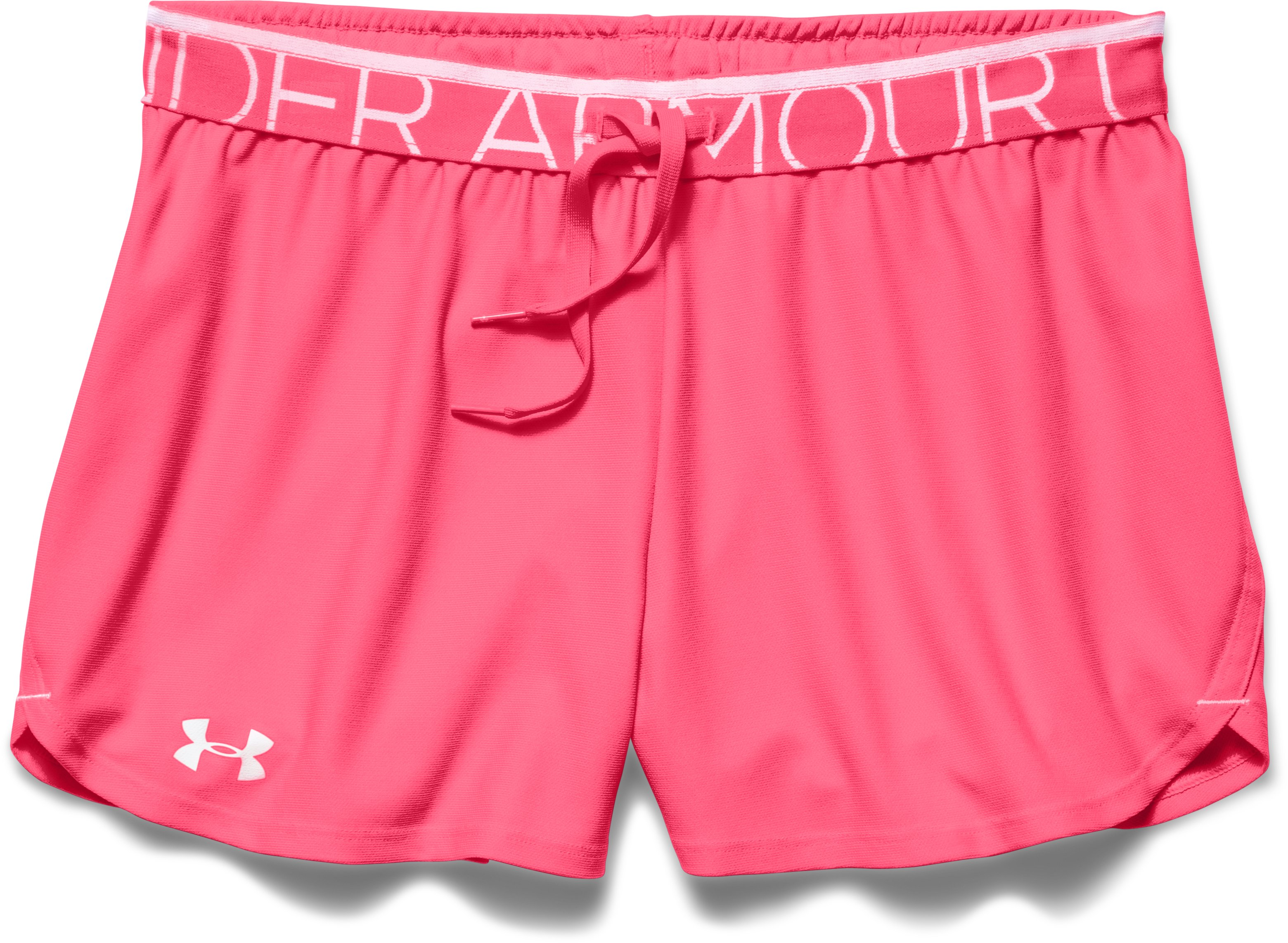 Women's UA Play Up Shorts, PINK SHOCK, Laydown