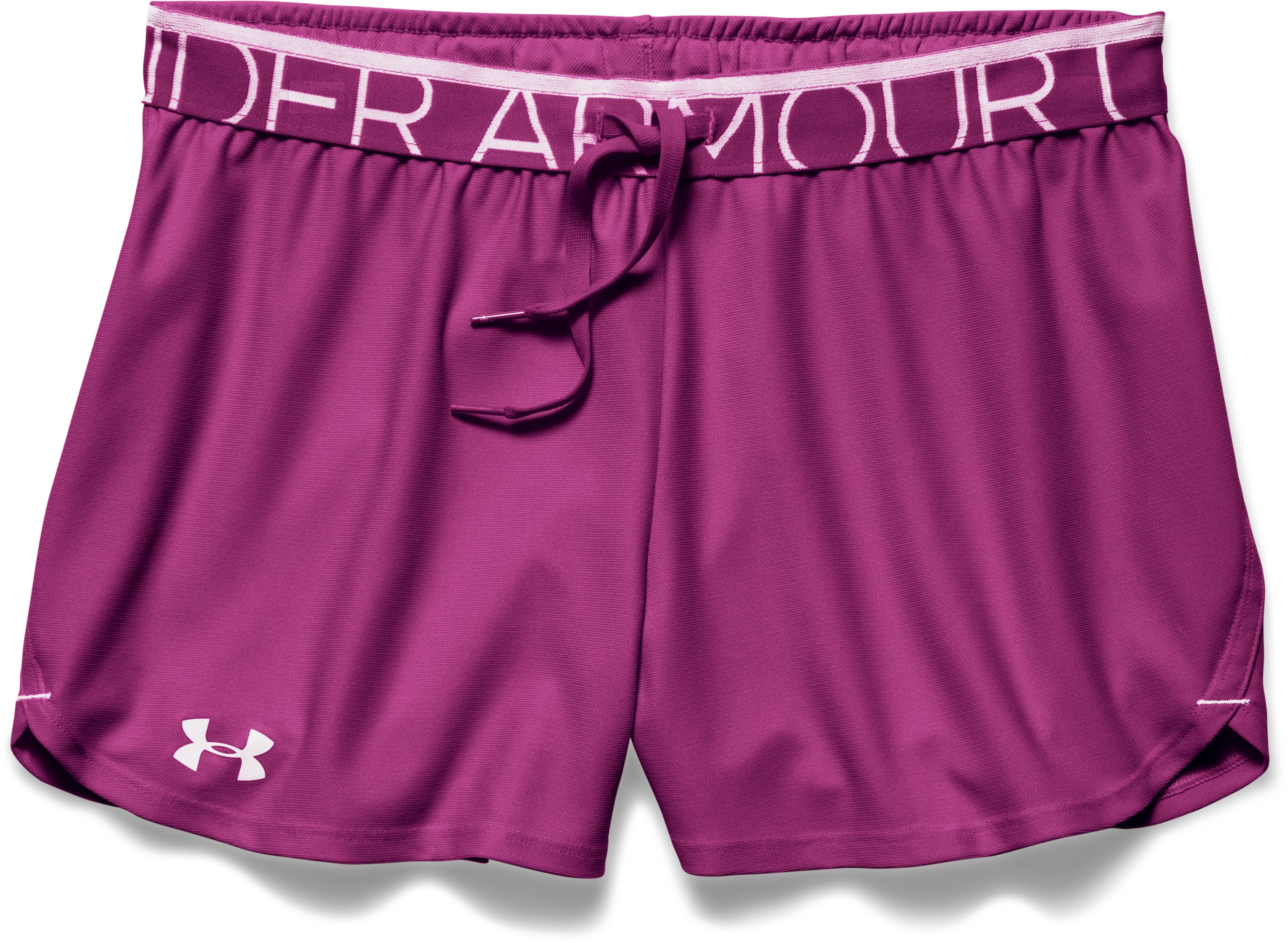 Women's UA Play Up Shorts, Aubergine, Laydown