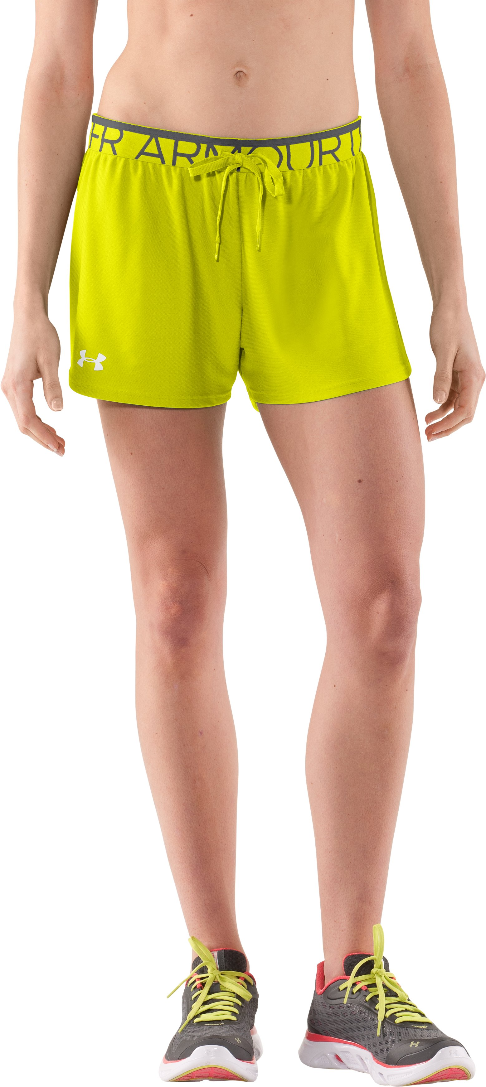 Women's UA Play Up Shorts, High-Vis Yellow, undefined