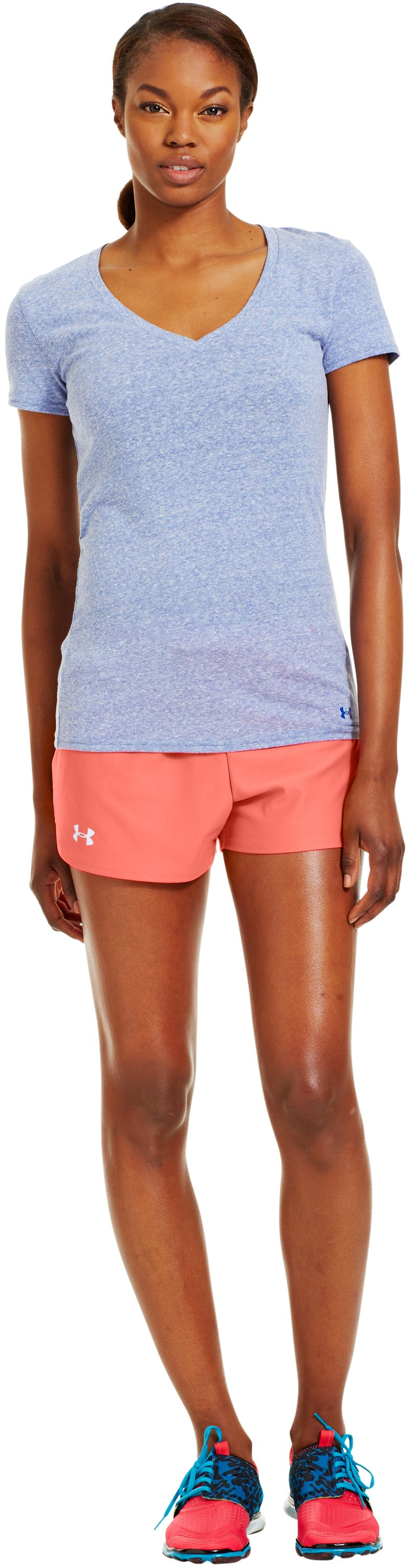 Women's UA Play Up Shorts, ELECTRIC TANGERINE, Front