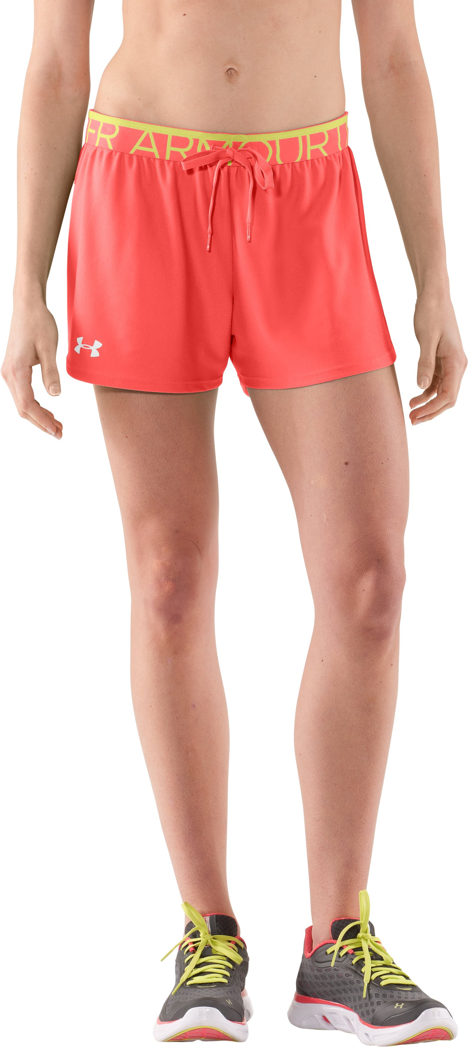 Women's UA Play Up Shorts, Fire, zoomed image