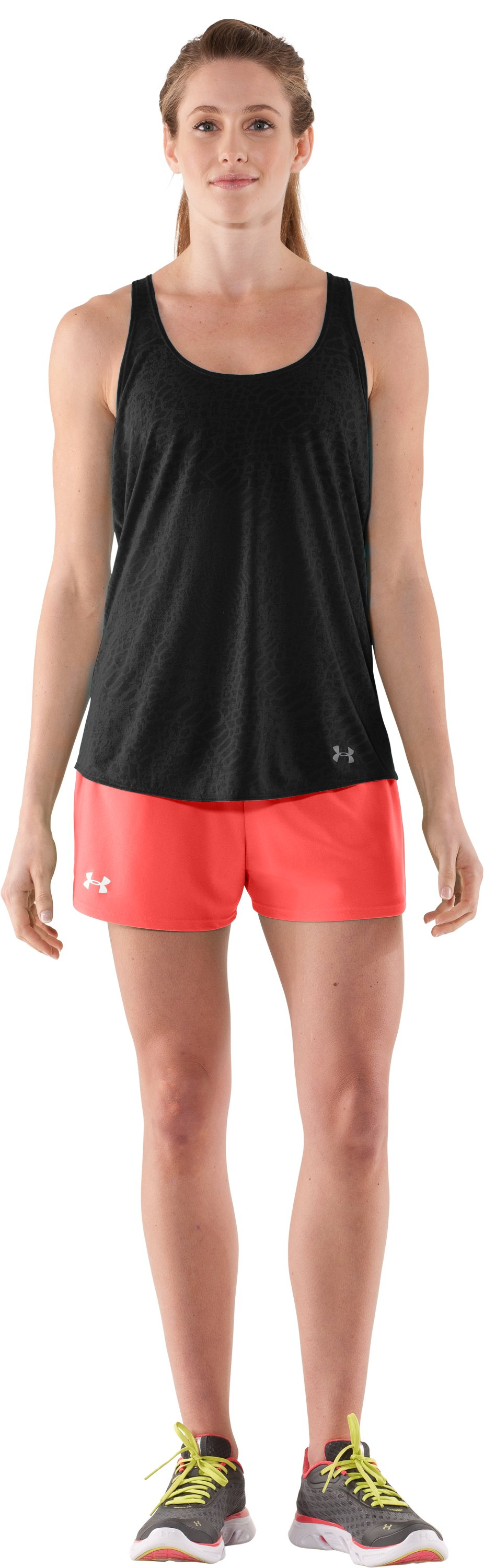 Women's UA Play Up Shorts, Fire, Front
