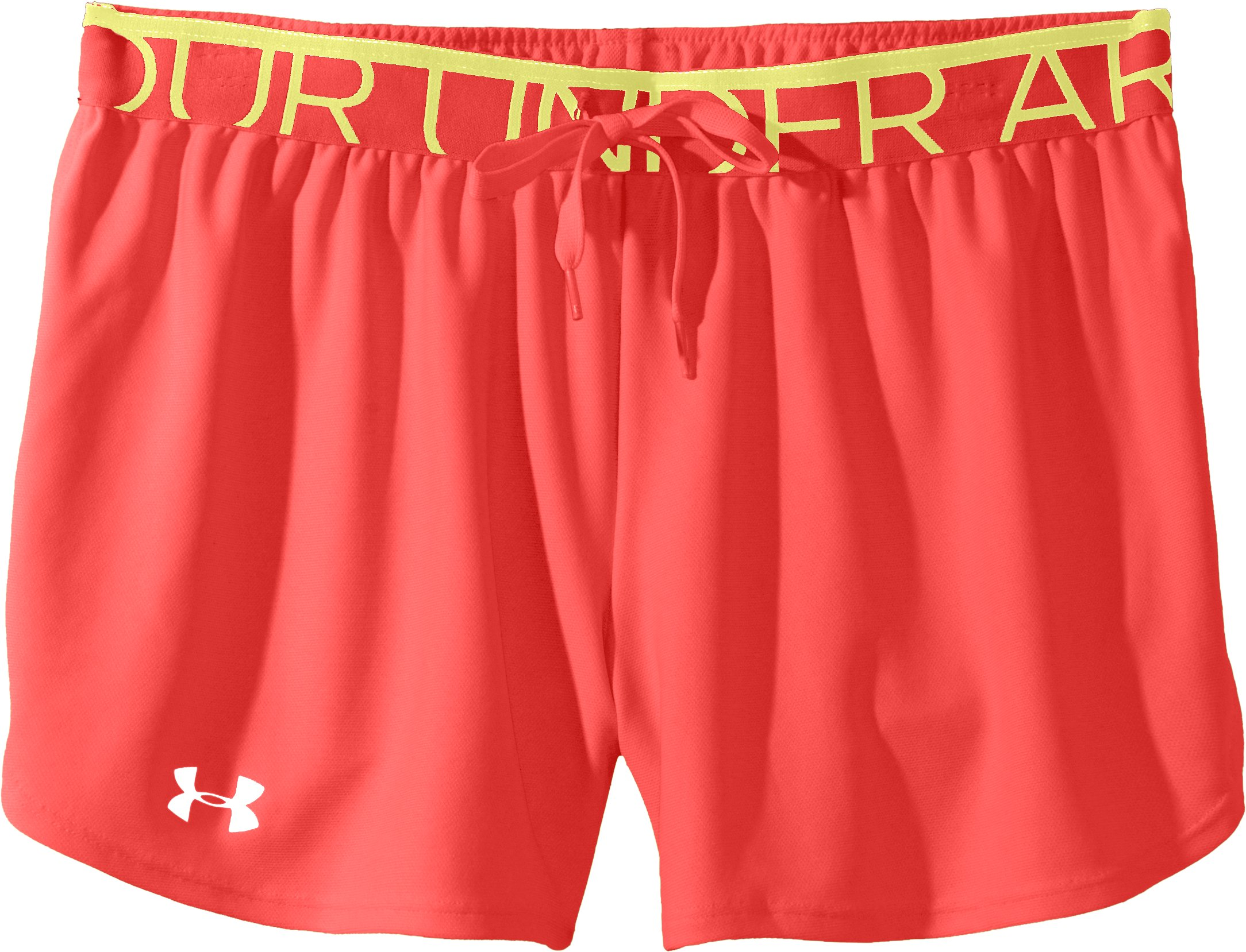 Women's UA Play Up Shorts, Fire, Laydown
