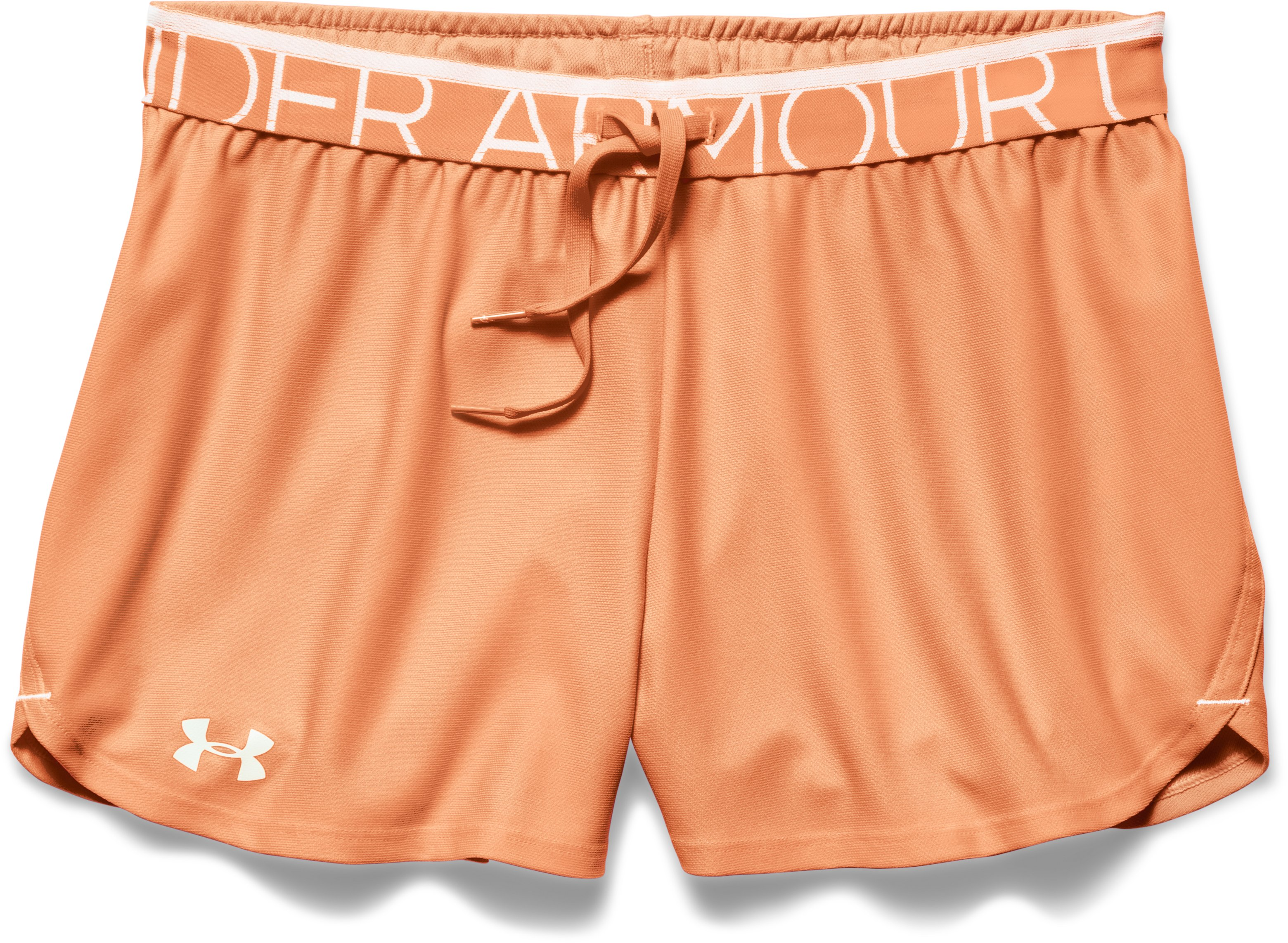 Women's UA Play Up Shorts, Afterglow, Laydown