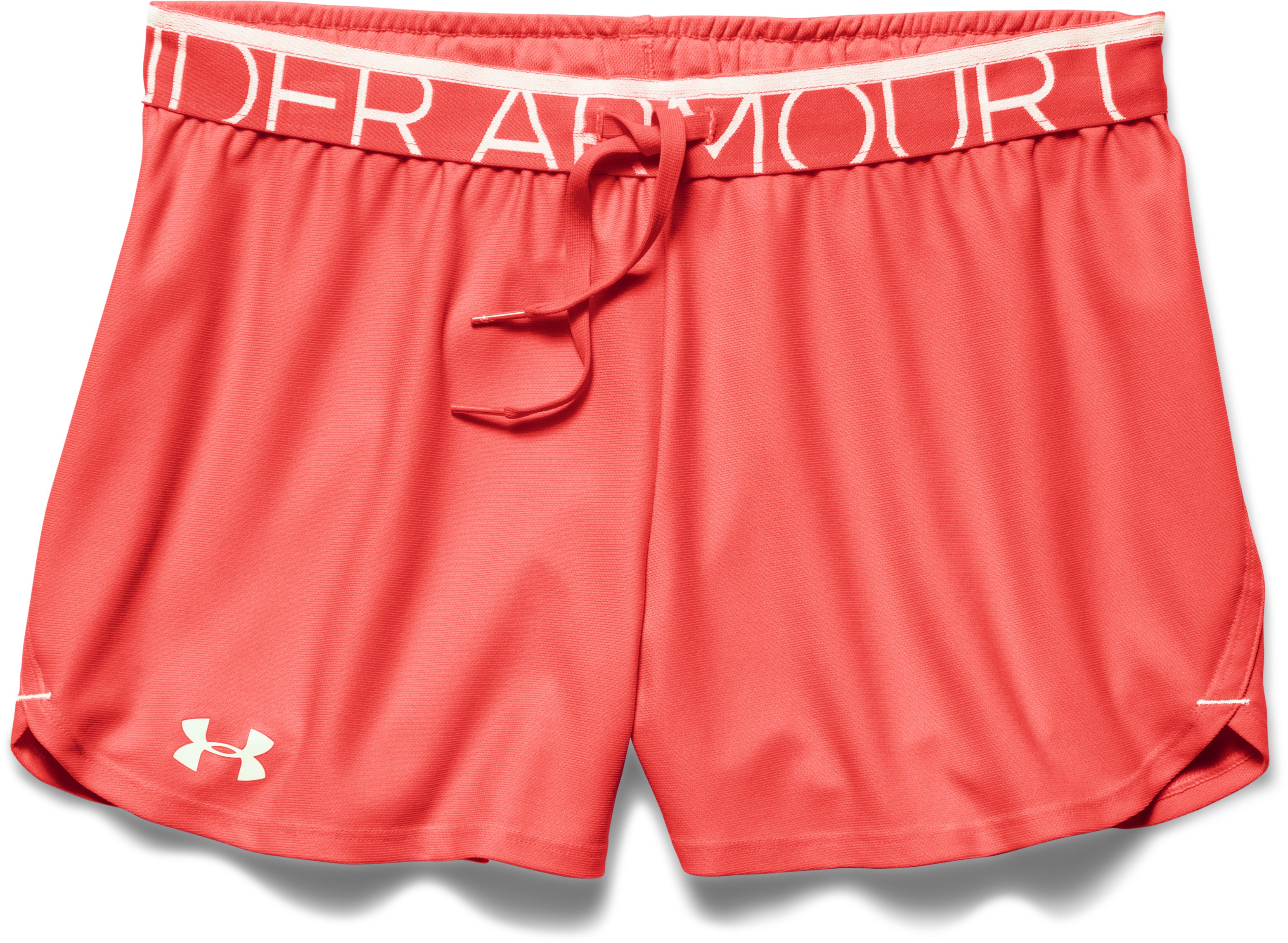 Women's UA Play Up Shorts, AFTER BURN, Laydown