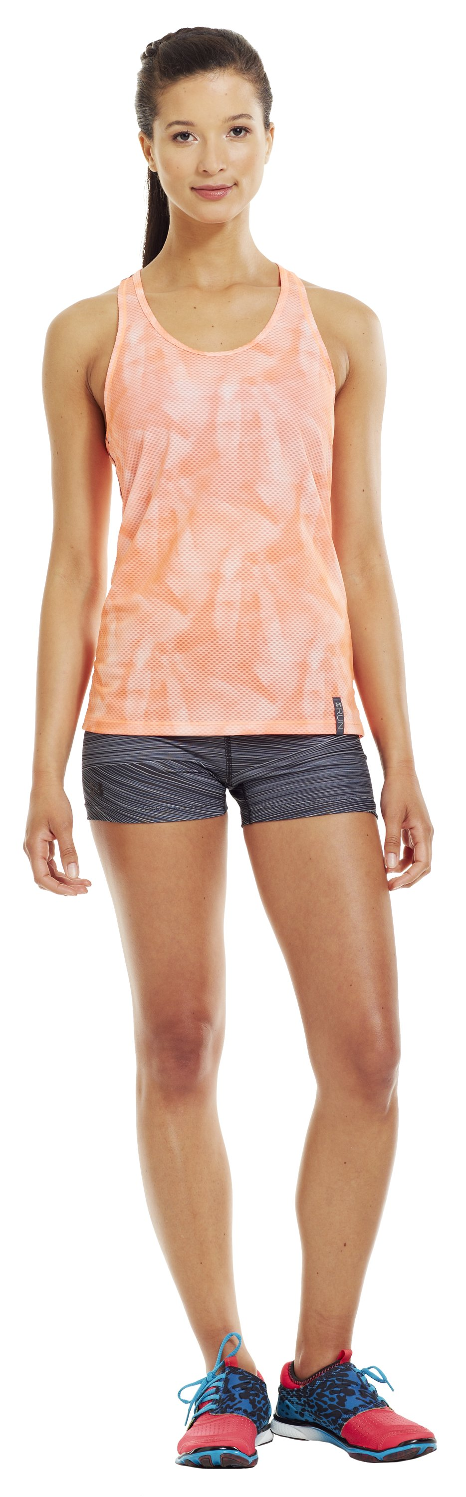 Women's UA Fly-By Printed Stretch Mesh Tank, ELECTRIC TANGERINE, Front