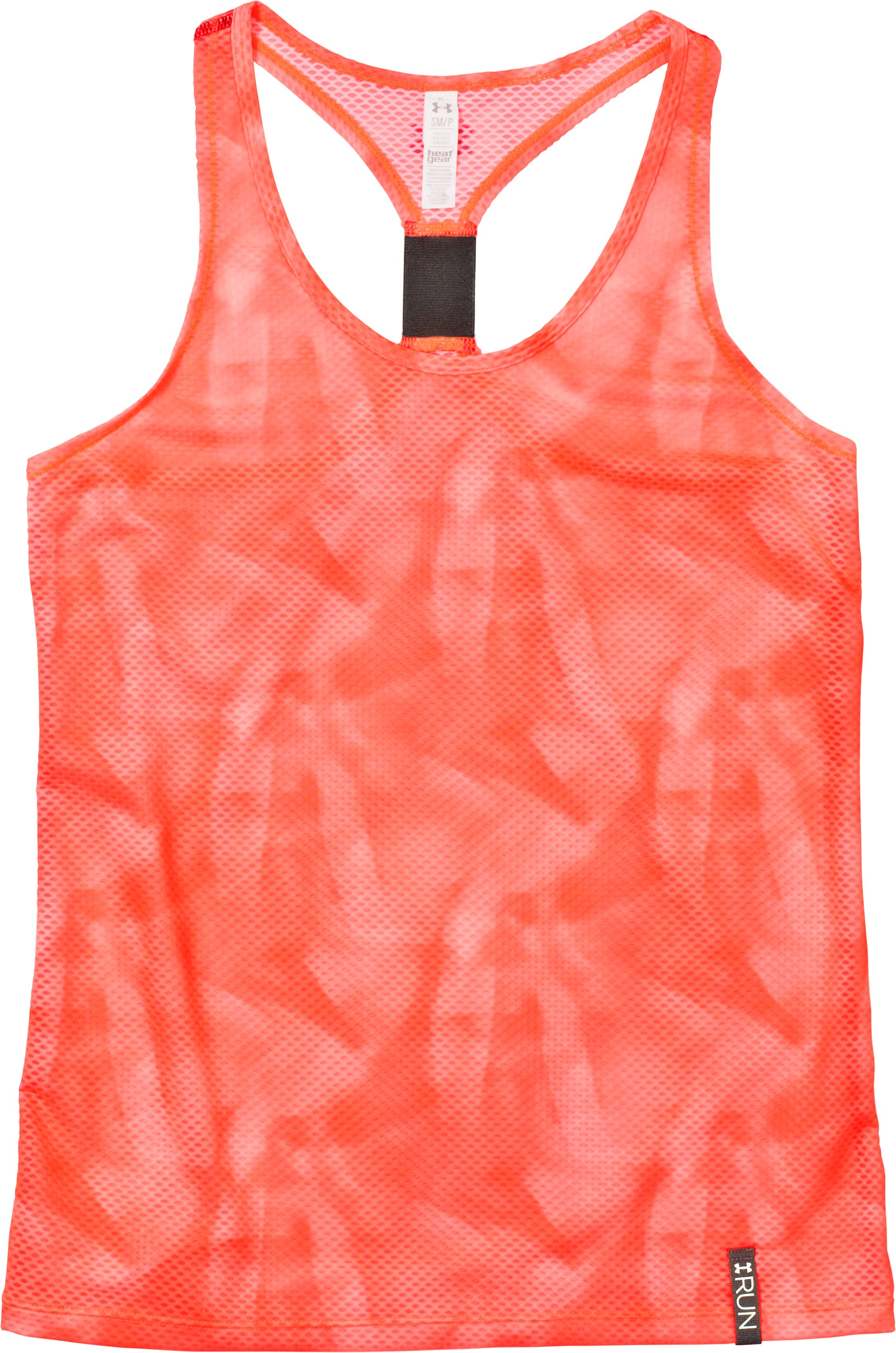 Women's UA Fly-By Printed Stretch Mesh Tank, ELECTRIC TANGERINE, Laydown