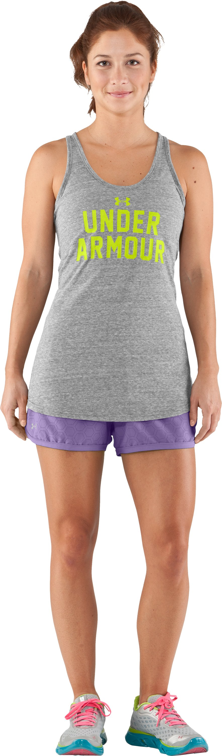 Women's Perforated UA Great Escape Shorts II, Petunia, Front