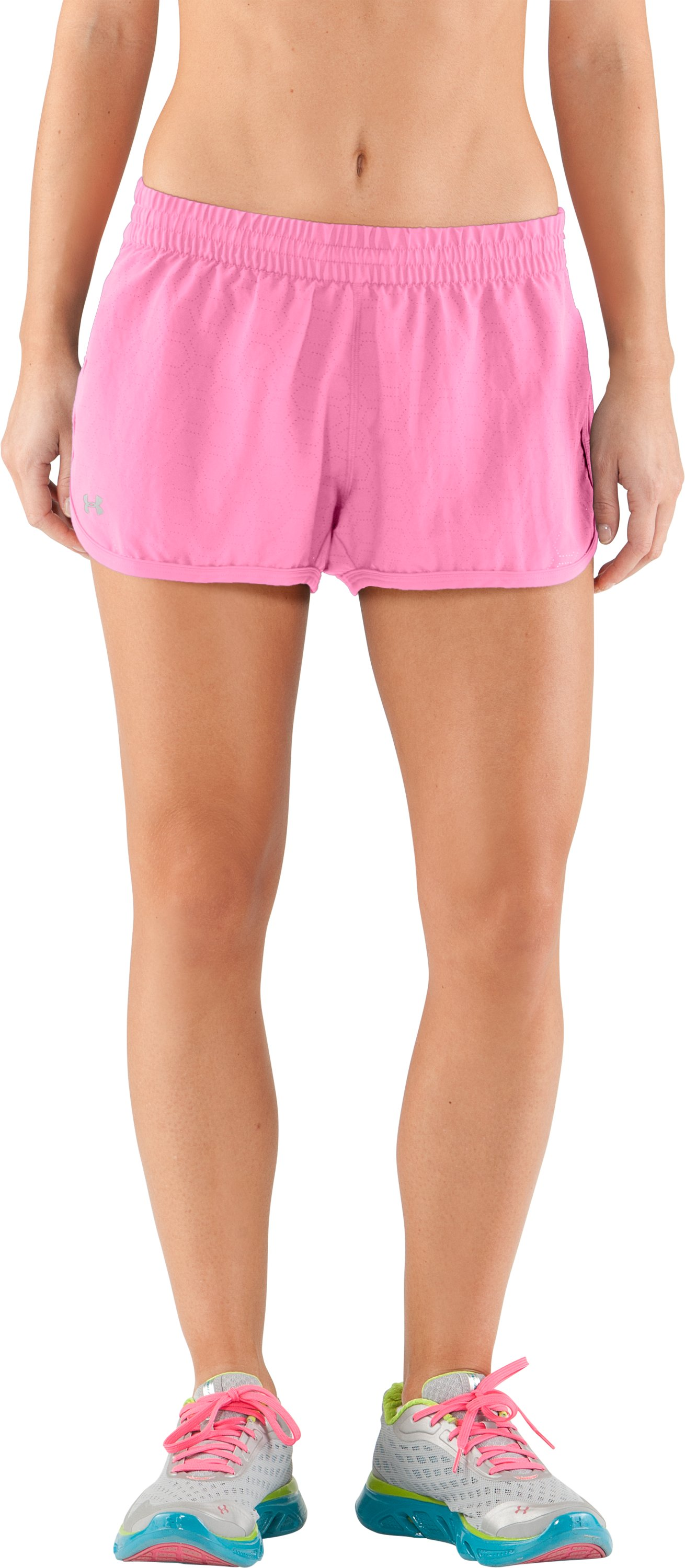 Women's Perforated UA Great Escape Shorts II, Fluo Pink, zoomed image