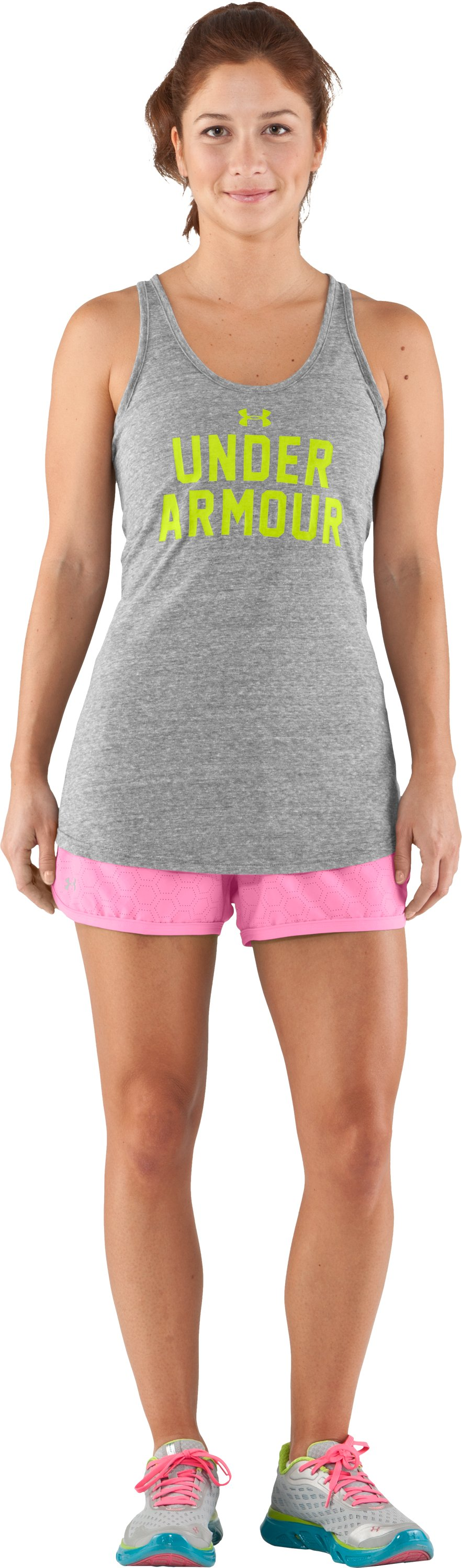 Women's Perforated UA Great Escape Shorts II, Fluo Pink, Front