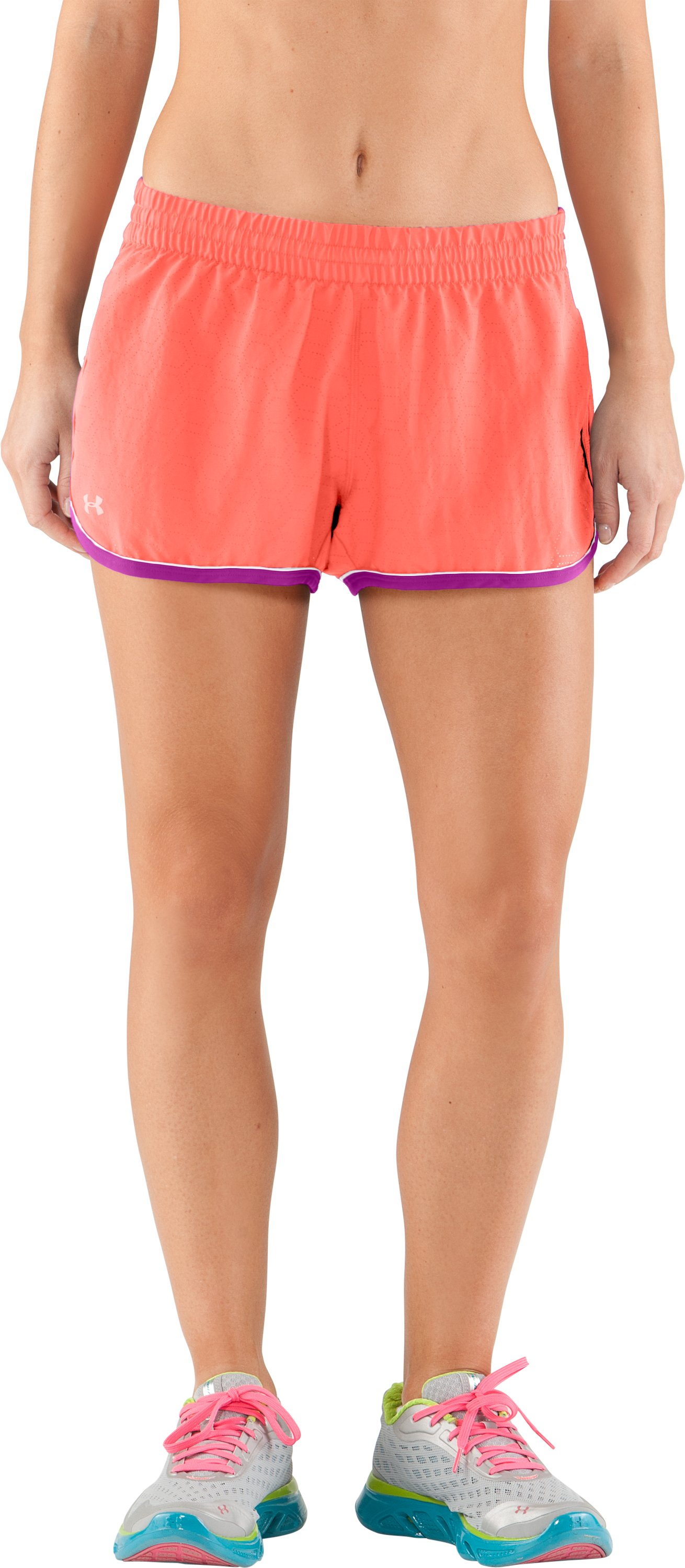 Women's Perforated UA Great Escape Shorts II, ELECTRIC TANGERINE,