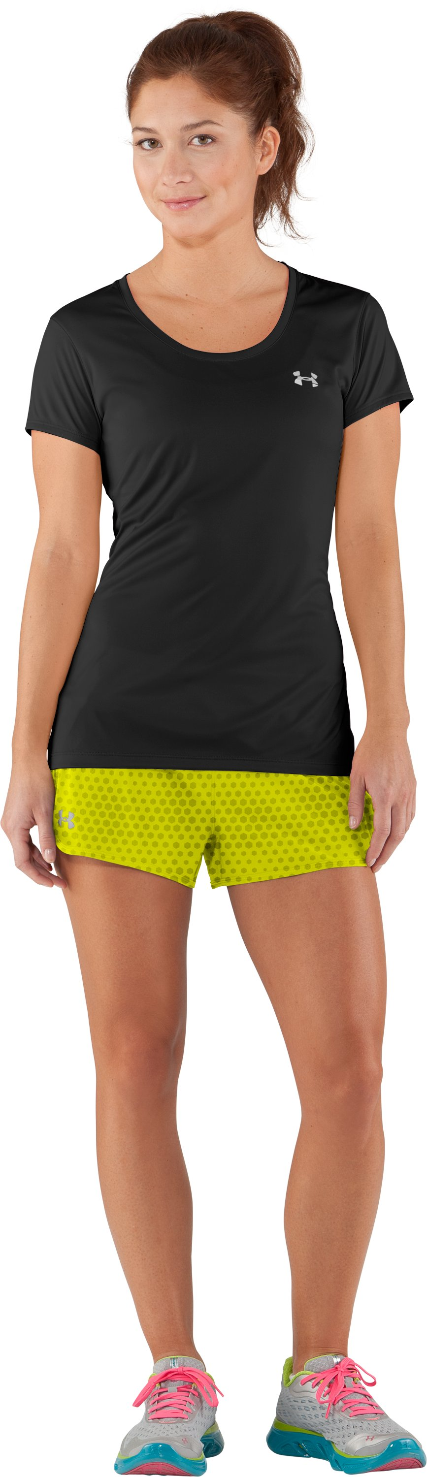 Women's UA Get Set Go Printed Shorts, High-Vis Yellow, Front