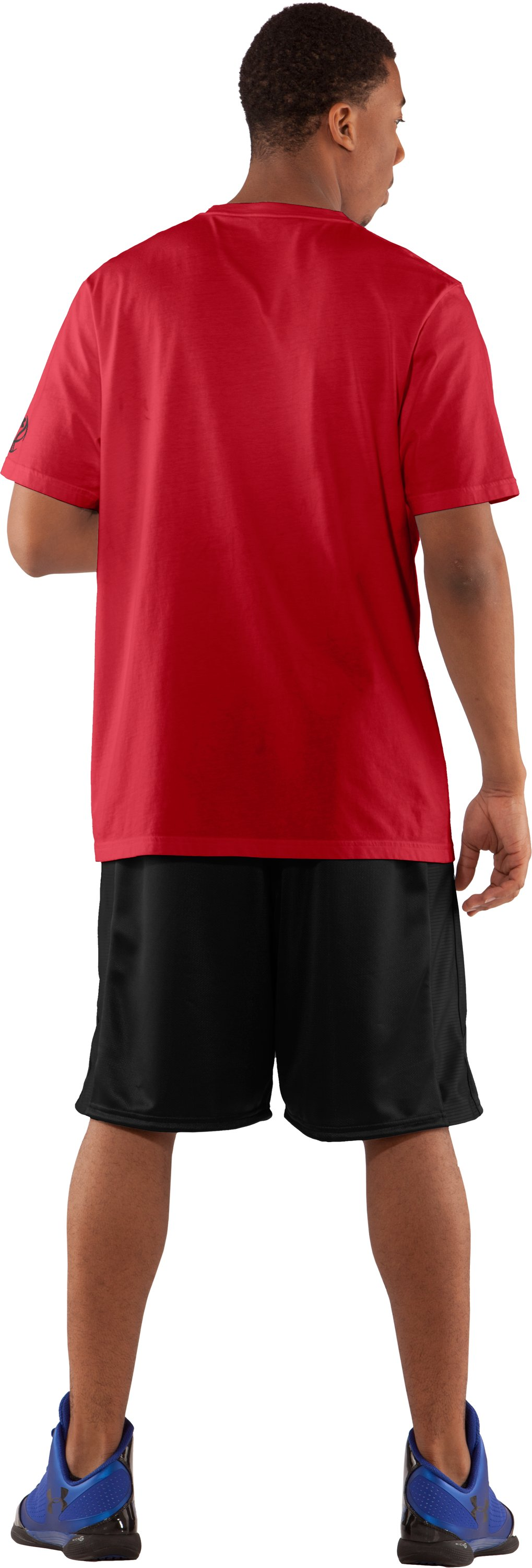 Men's UA Hoopsgalore Graphic T-Shirt, Red, Back