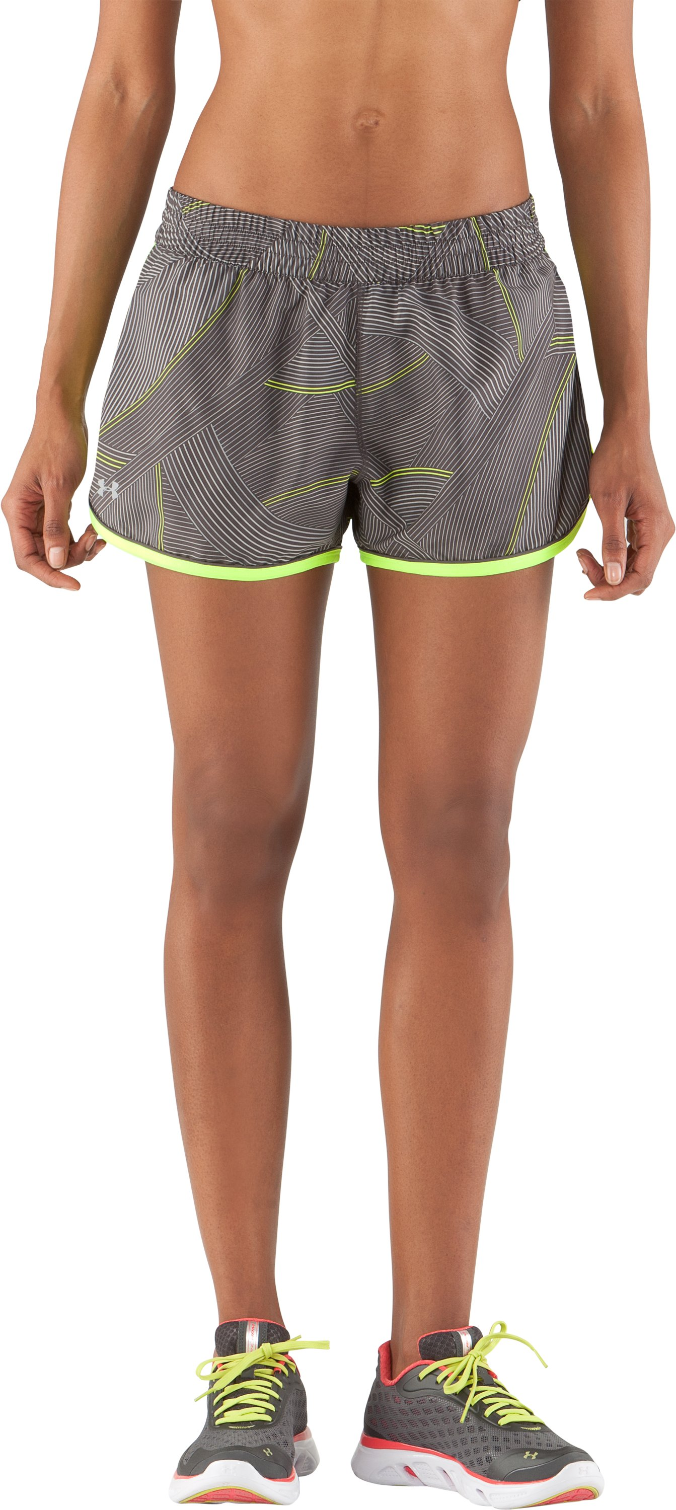 Women's UA Great Escape Printed Shorts II, Charcoal, zoomed image