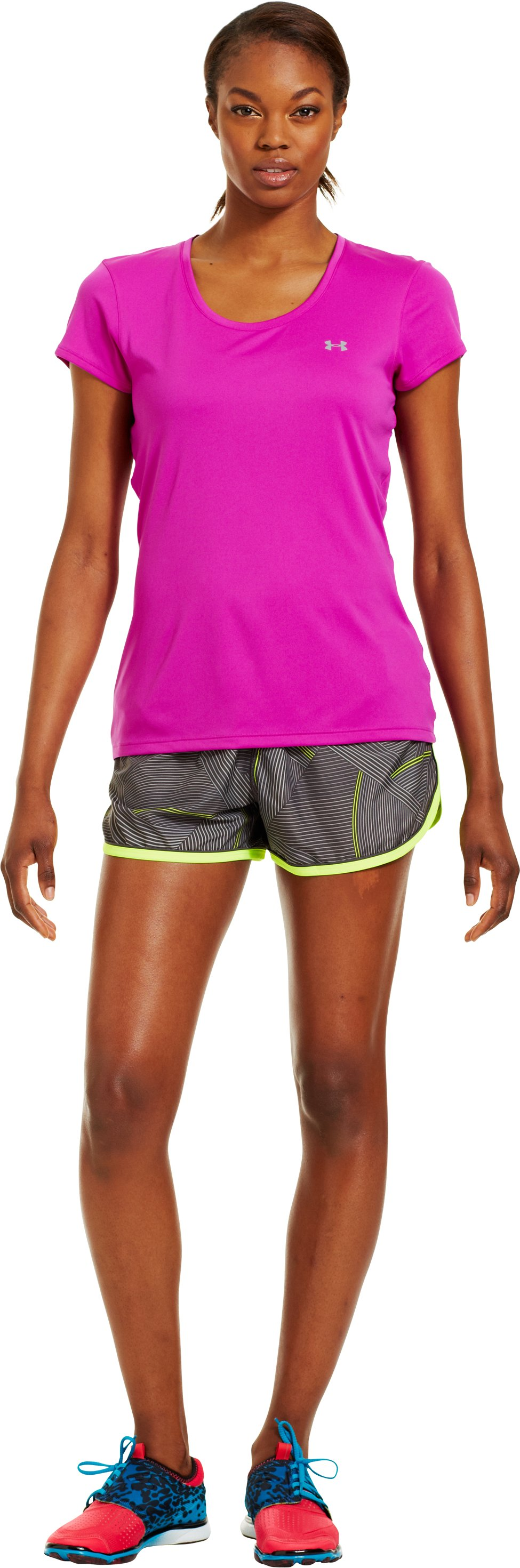 Women's UA Great Escape Printed Shorts II, Charcoal, Front