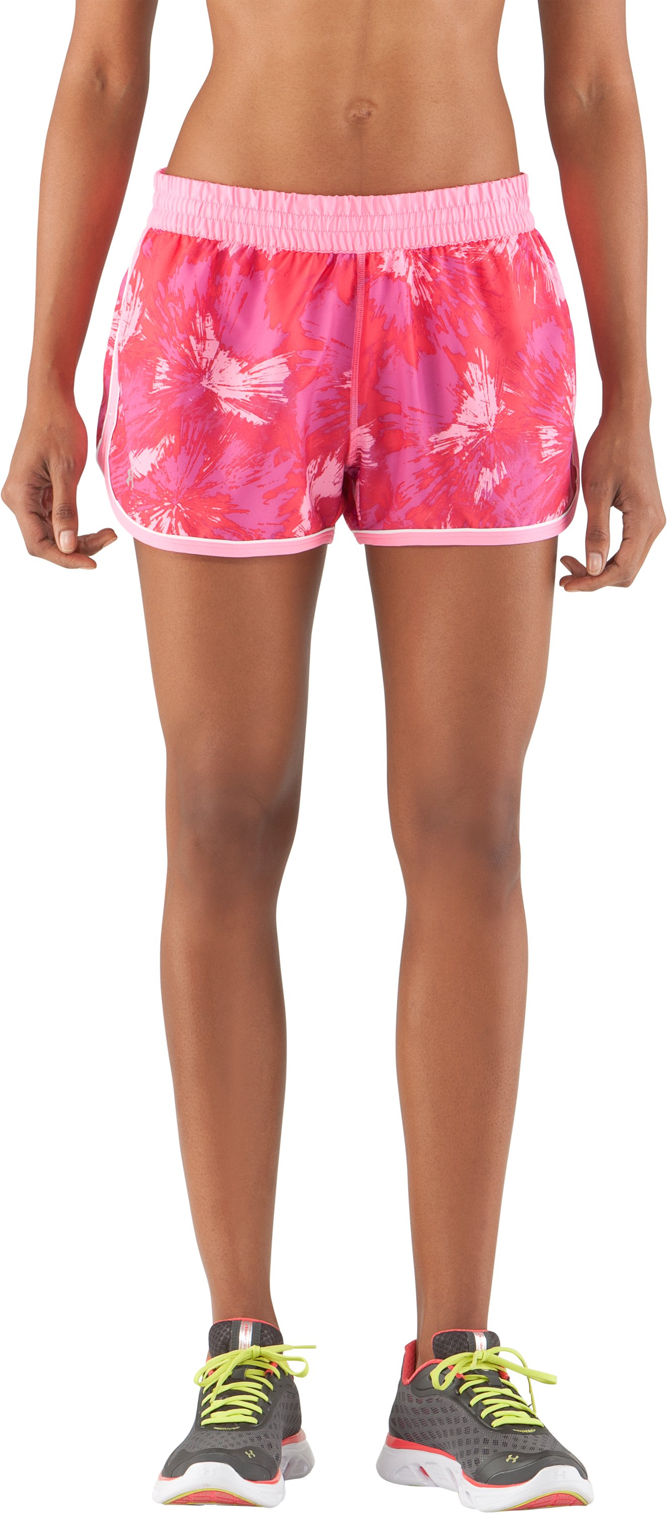 Women's UA Great Escape Printed Shorts II, Fluo Pink, zoomed image