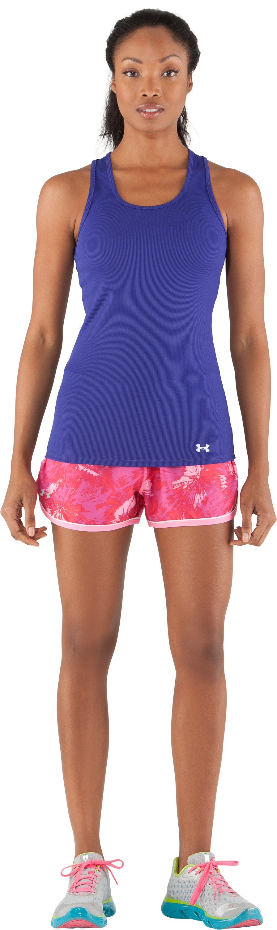 Women's UA Great Escape Printed Shorts II, Fluo Pink, Front