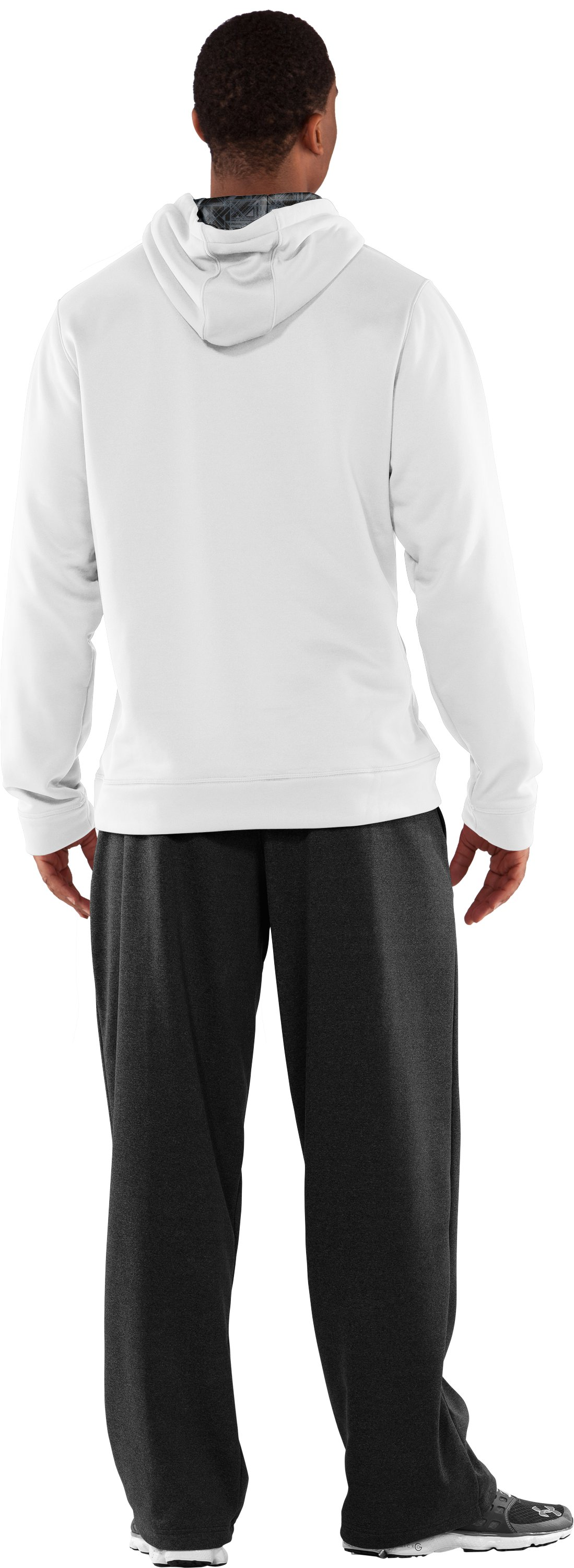 Men's Armour® Fleece Storm Printed Big Logo Hoodie, White, Back
