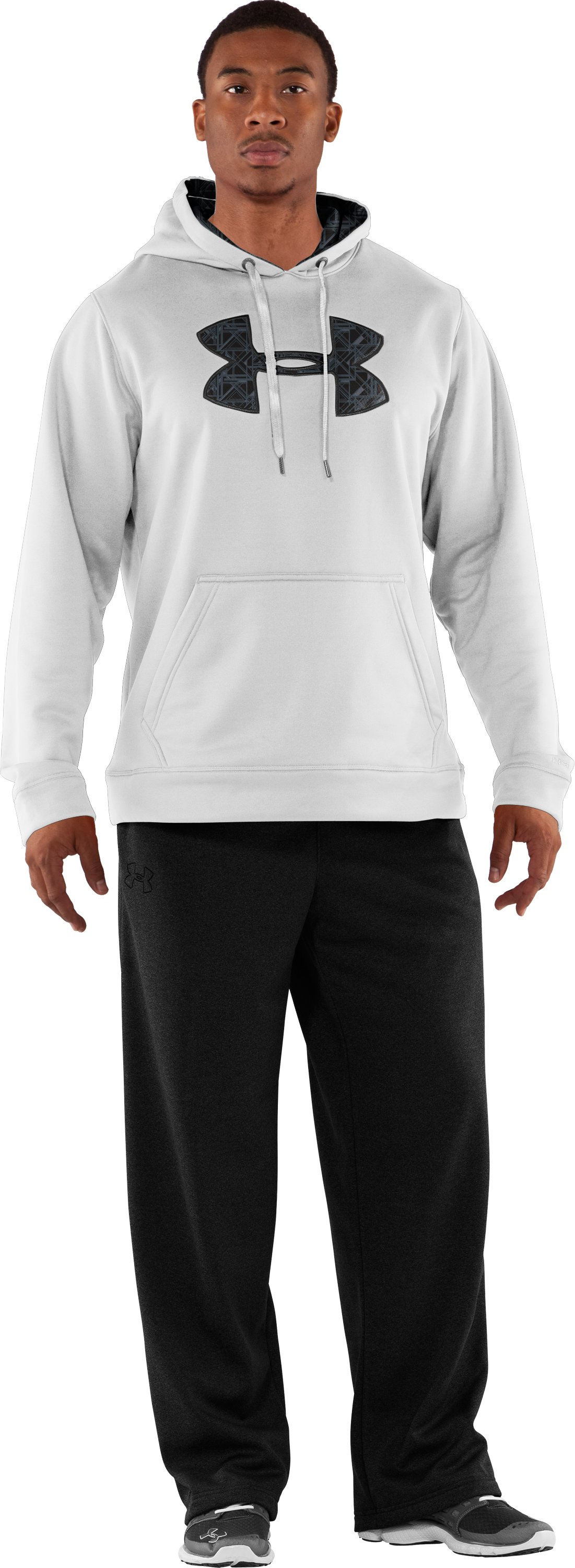 Men's Armour® Fleece Storm Printed Big Logo Hoodie, White, Front