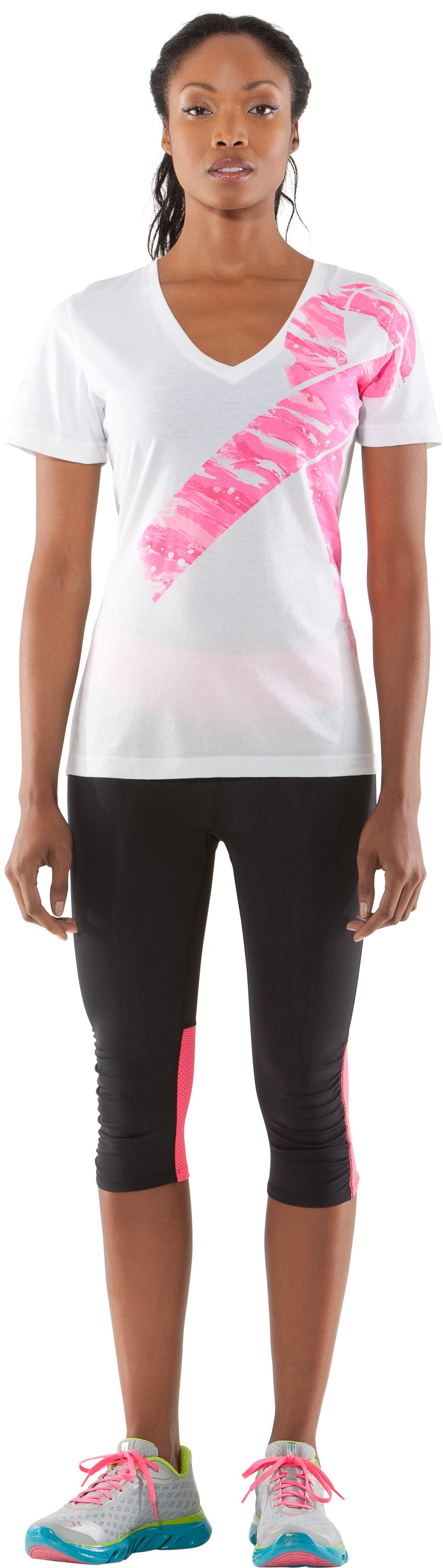 Women's UA PIP® Camo Ribbon V-Neck, White, zoomed image