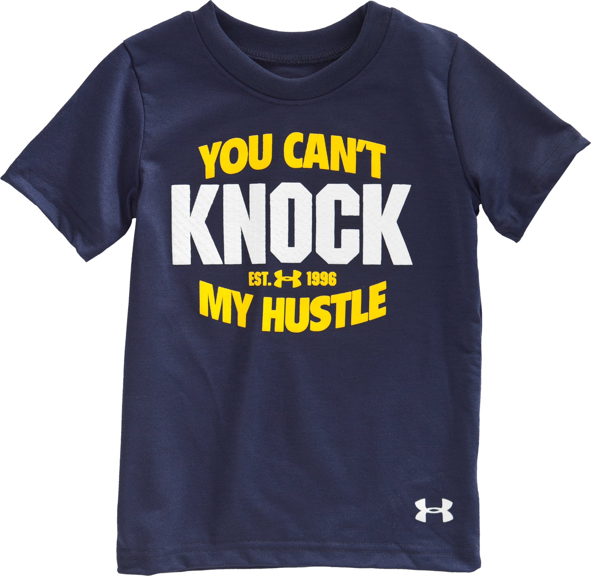 Boys' Toddler UA Can't Knock My Hustle T-Shirt, Midnight Navy, Laydown