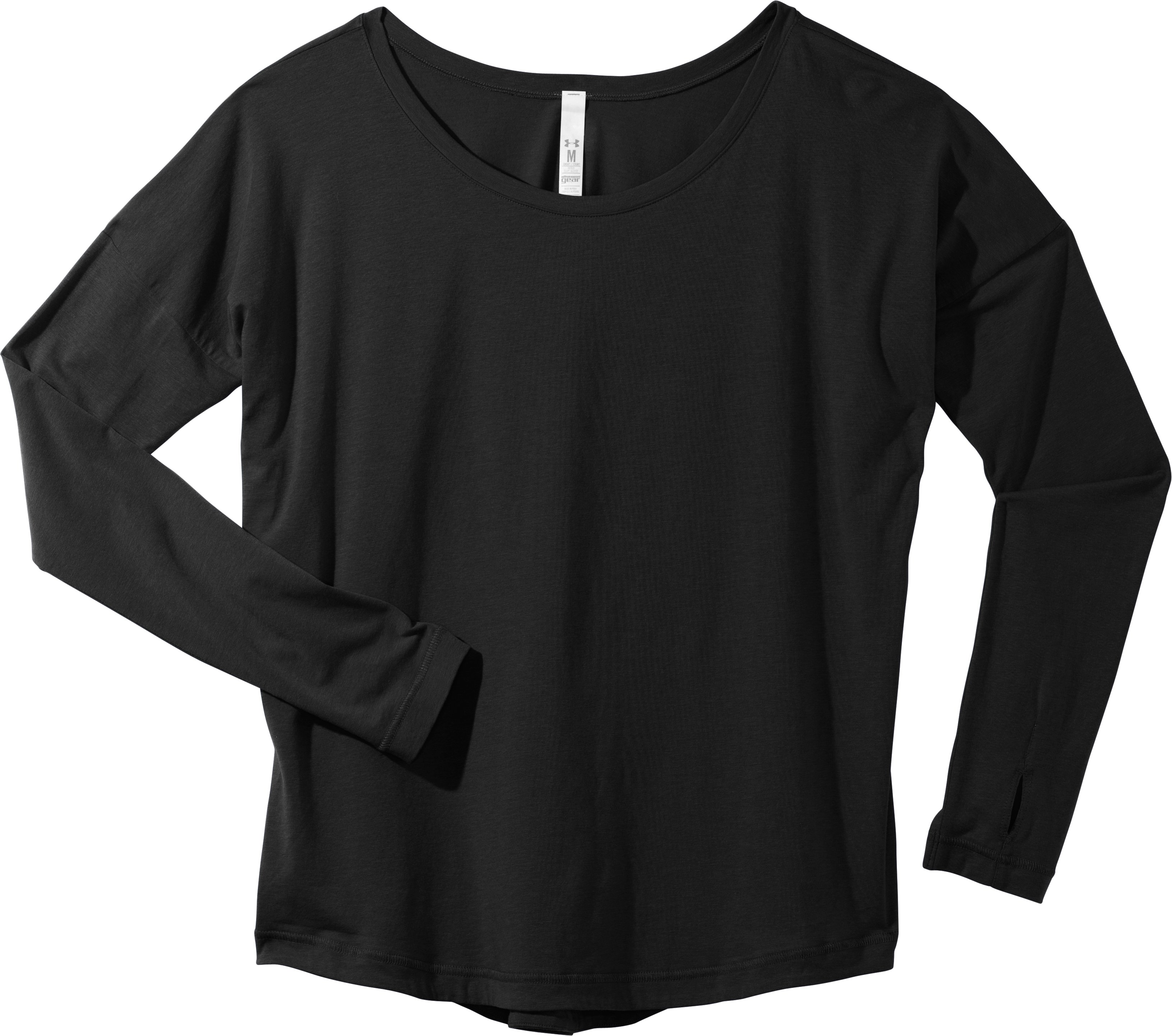 Women's UA Flow Long Sleeve, Black , Laydown