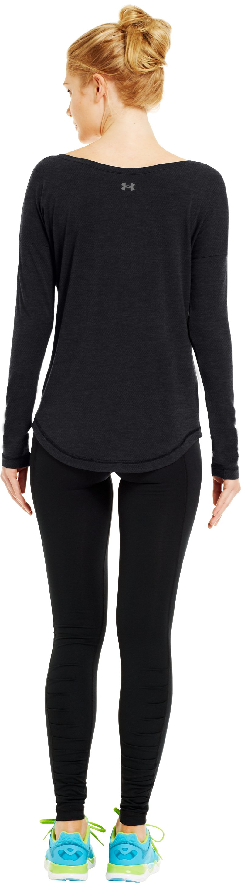 Women's UA Flow Long Sleeve, Asphalt Heather, Back