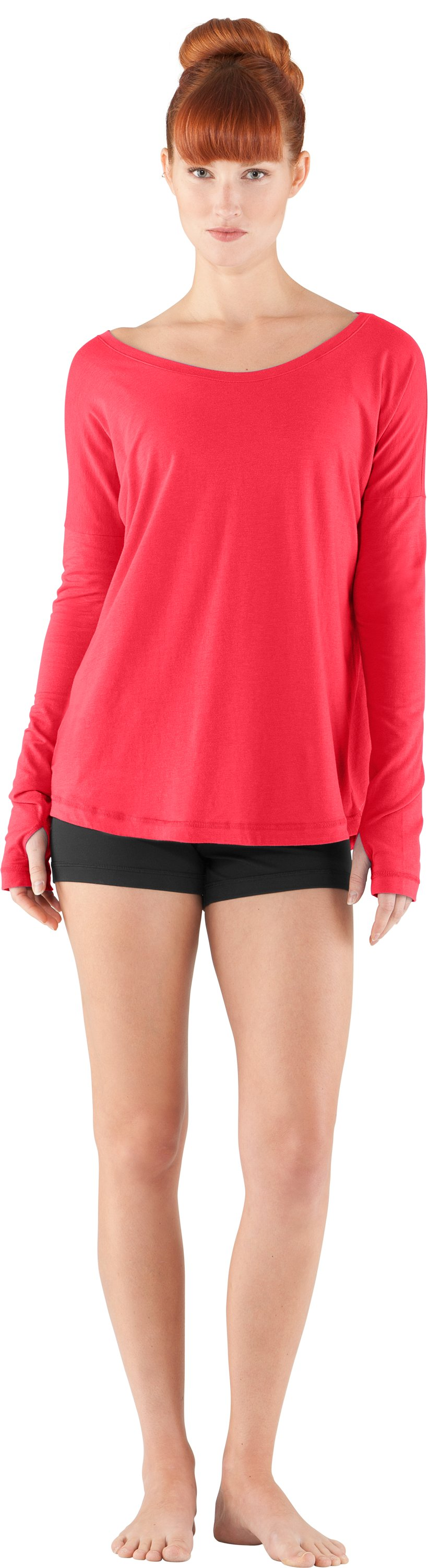 Women's UA Flow Long Sleeve, Hibiscus, Front