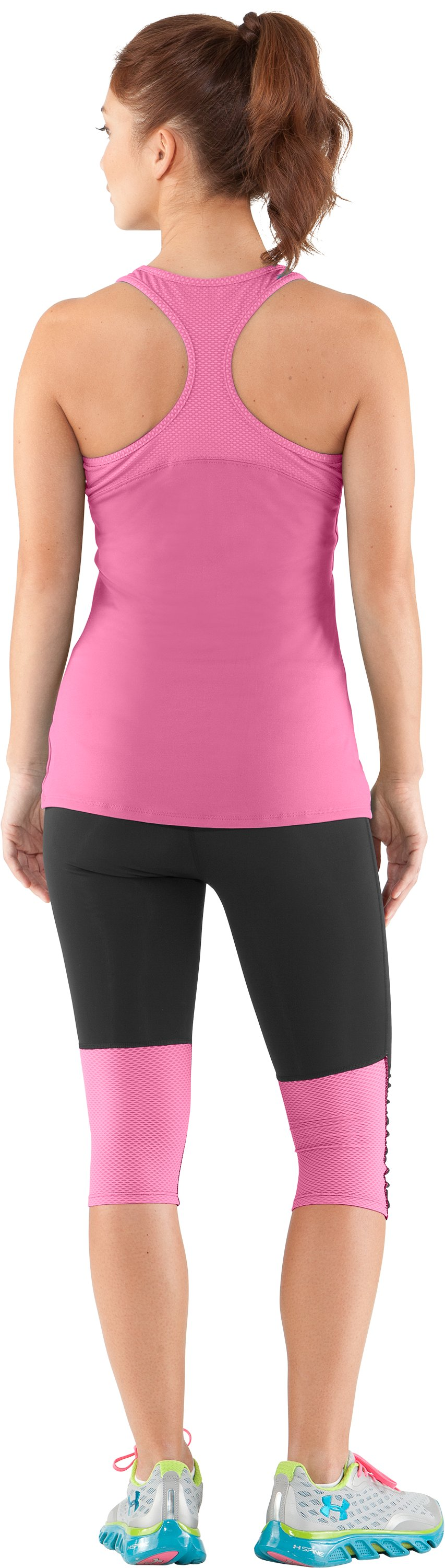 Women's UA See Me Go Support Tank, Fluo Pink, Back