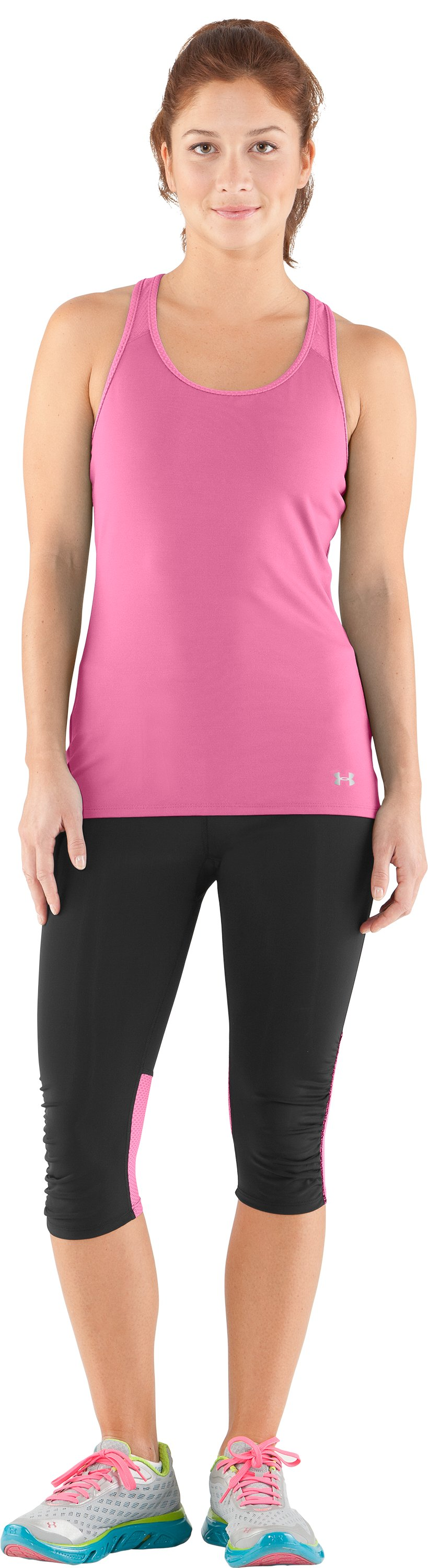 Women's UA See Me Go Support Tank, Fluo Pink, Front