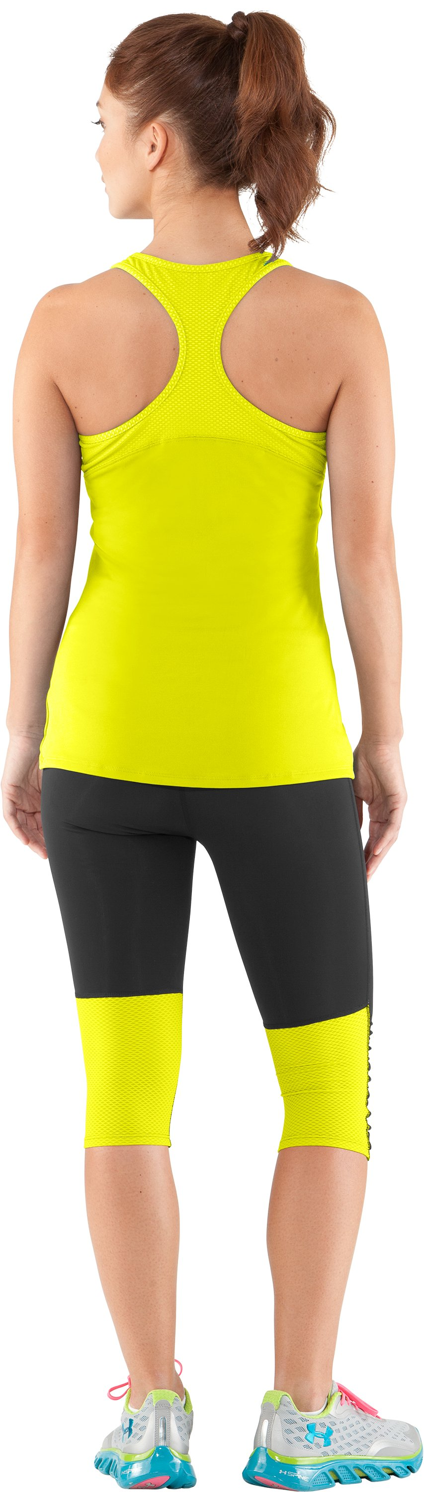 Women's UA See Me Go Support Tank, High-Vis Yellow, Back