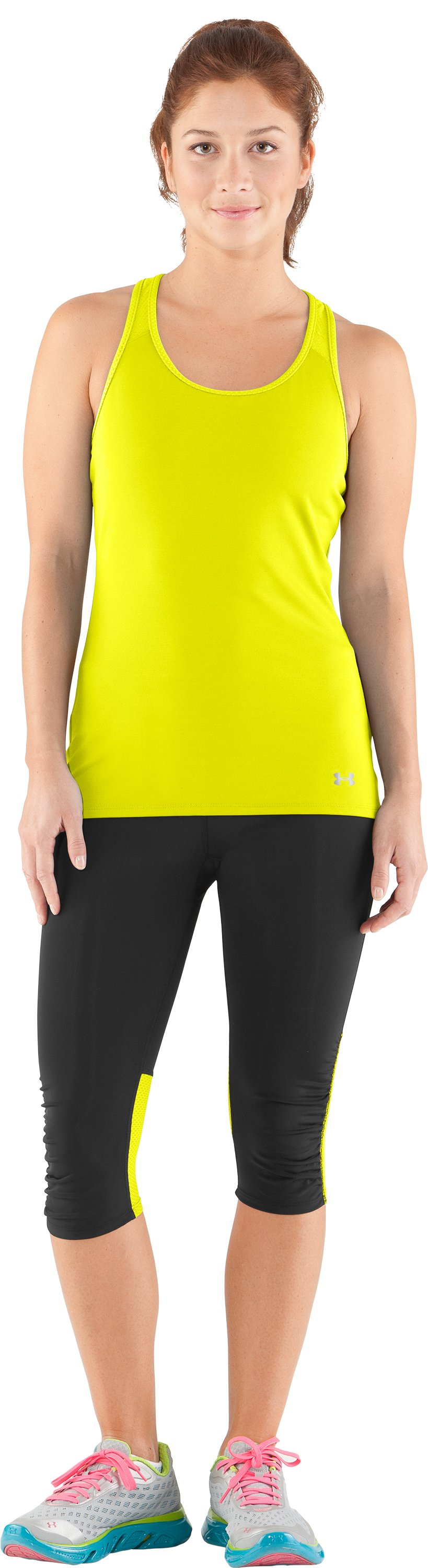 Women's UA See Me Go Support Tank, High-Vis Yellow, Front