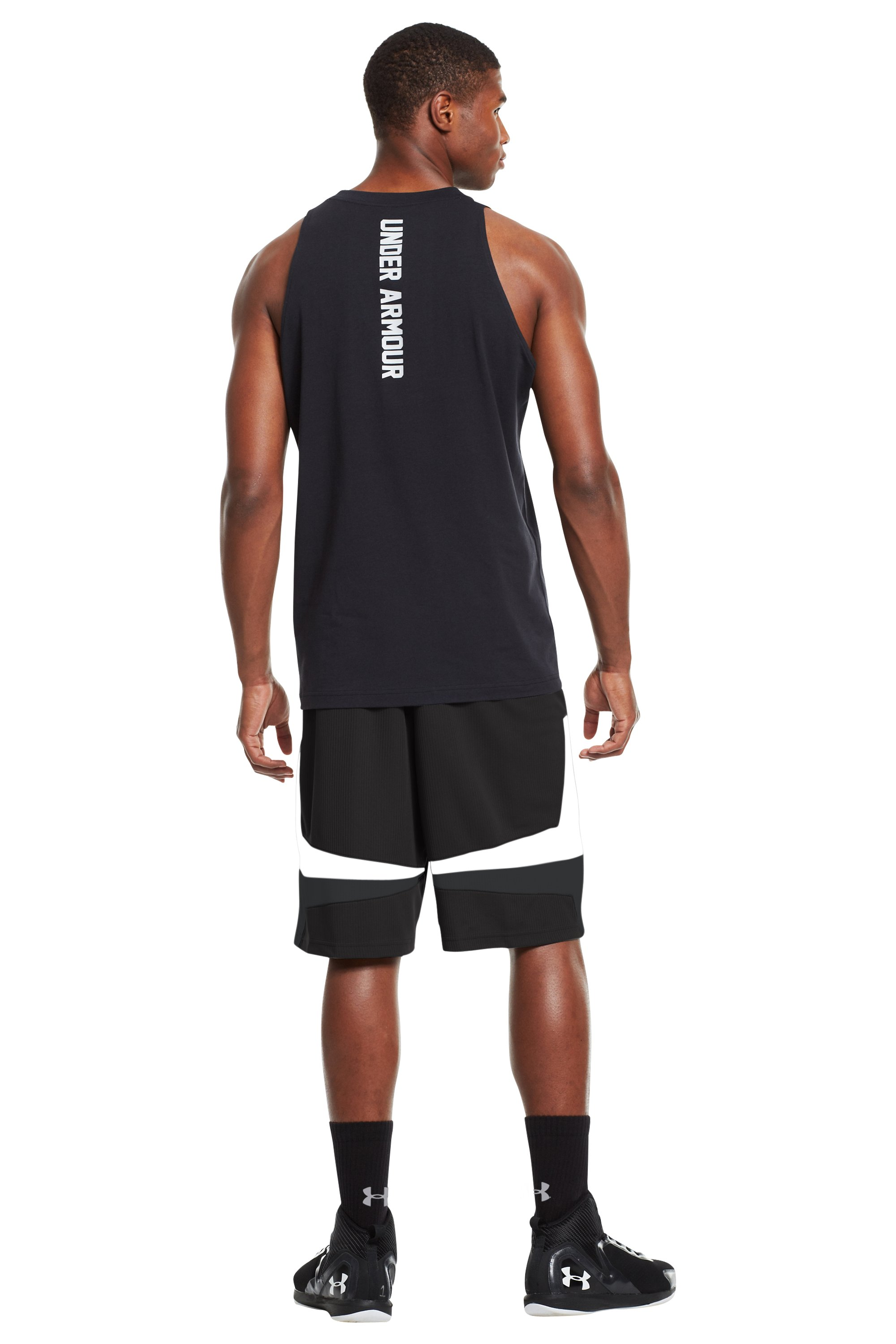 "Men's UA Mustang 10"" Basketball Shorts, Black , Back"