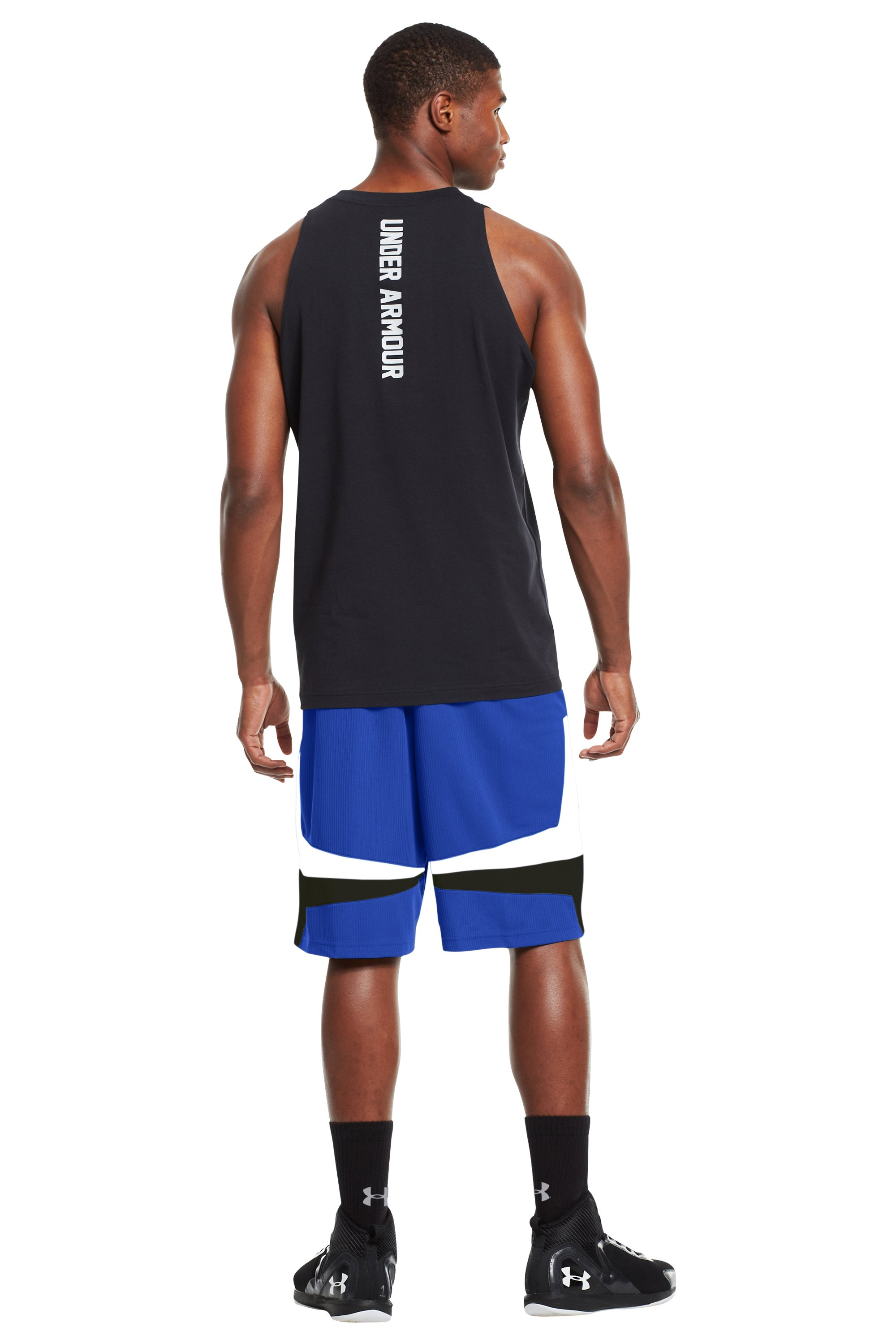 "Men's UA Mustang 10"" Basketball Shorts, Royal, Back"