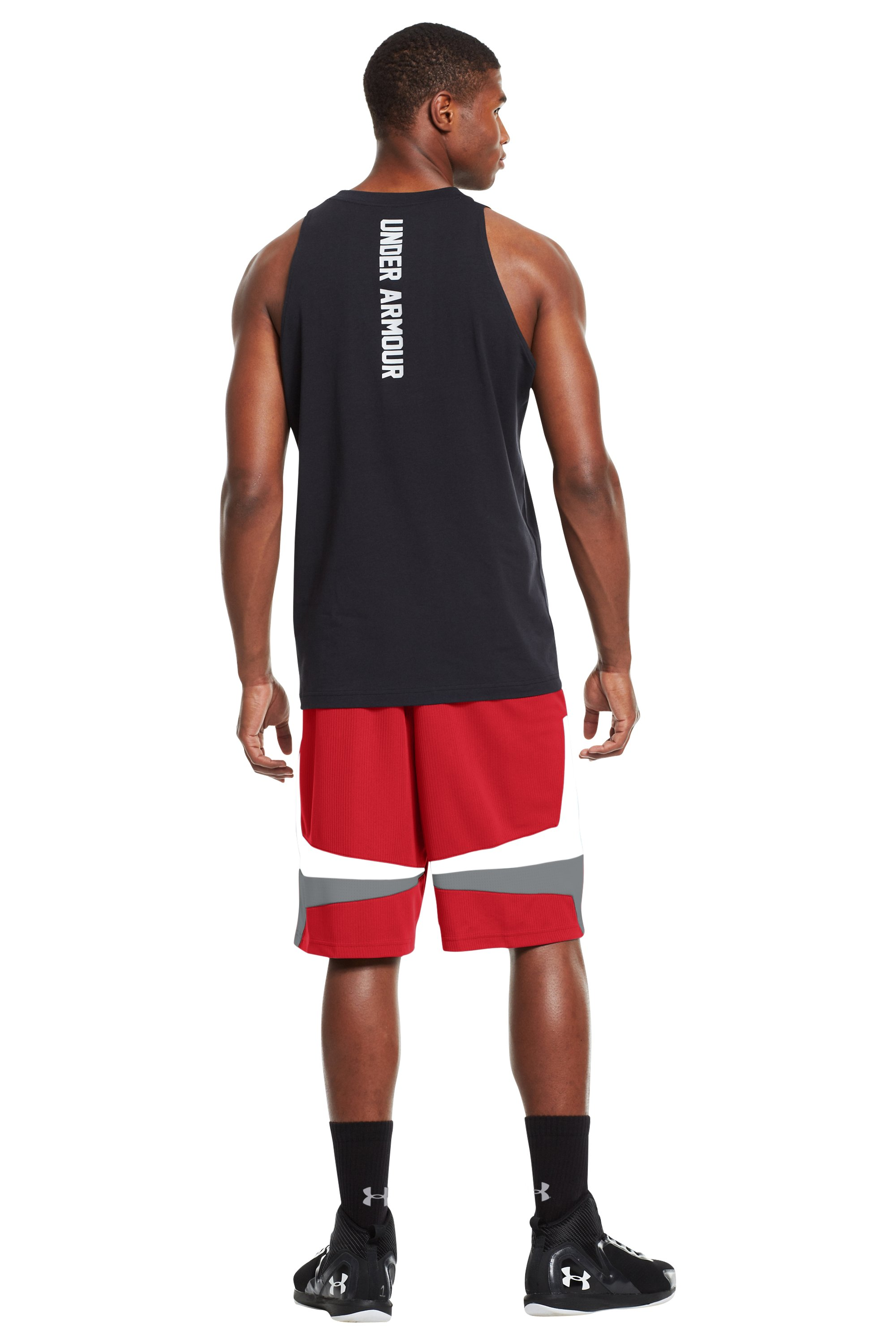 "Men's UA Mustang 10"" Basketball Shorts, Red, Back"