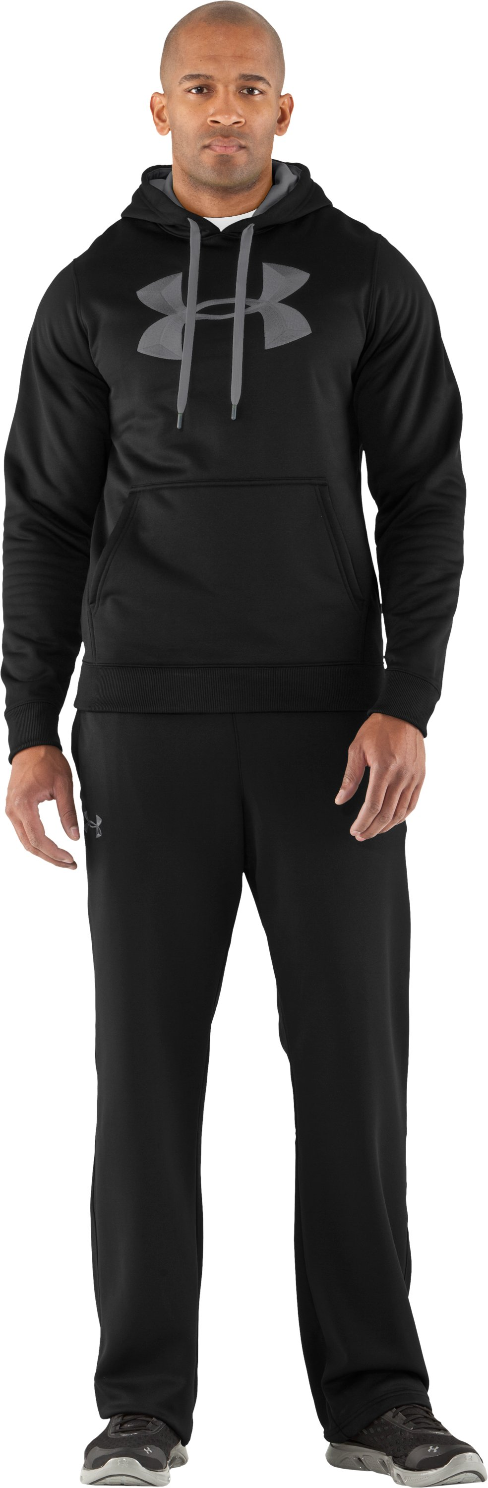 Men's Armour® Fleece 3D Logo Pants, Black , Front