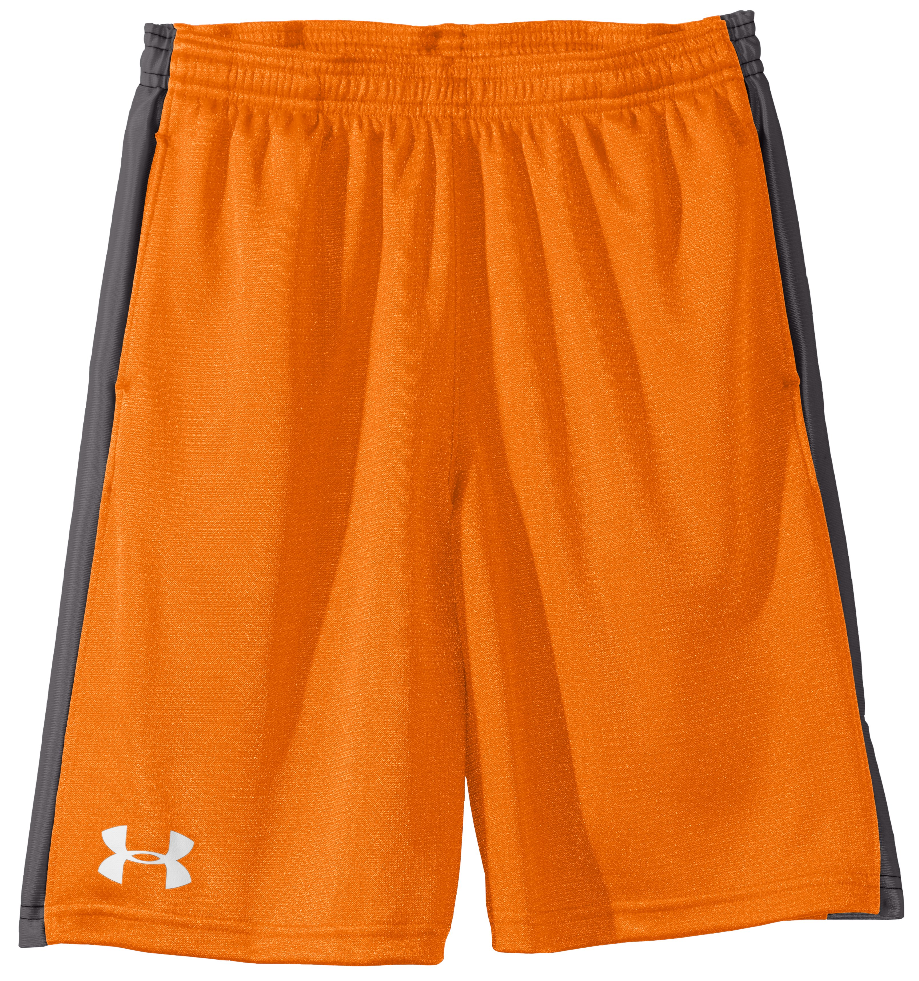 "Boys' UA Ultimate 9"" Shorts, Blaze Orange, Laydown"