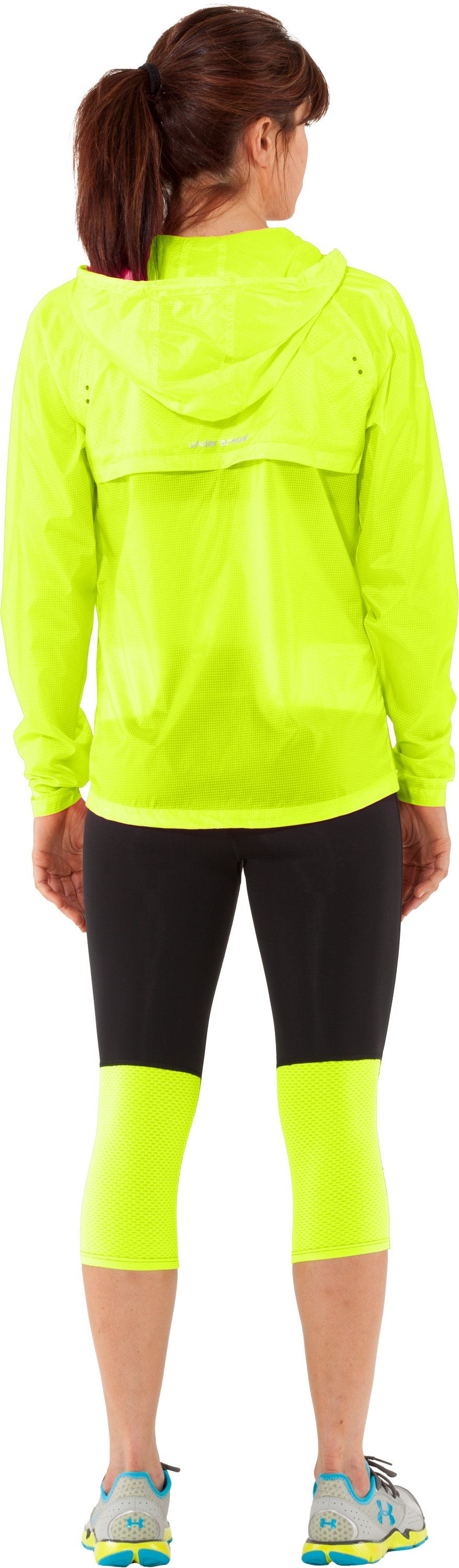 Women's UA See Me Go Translucent Jacket, High-Vis Yellow, Back